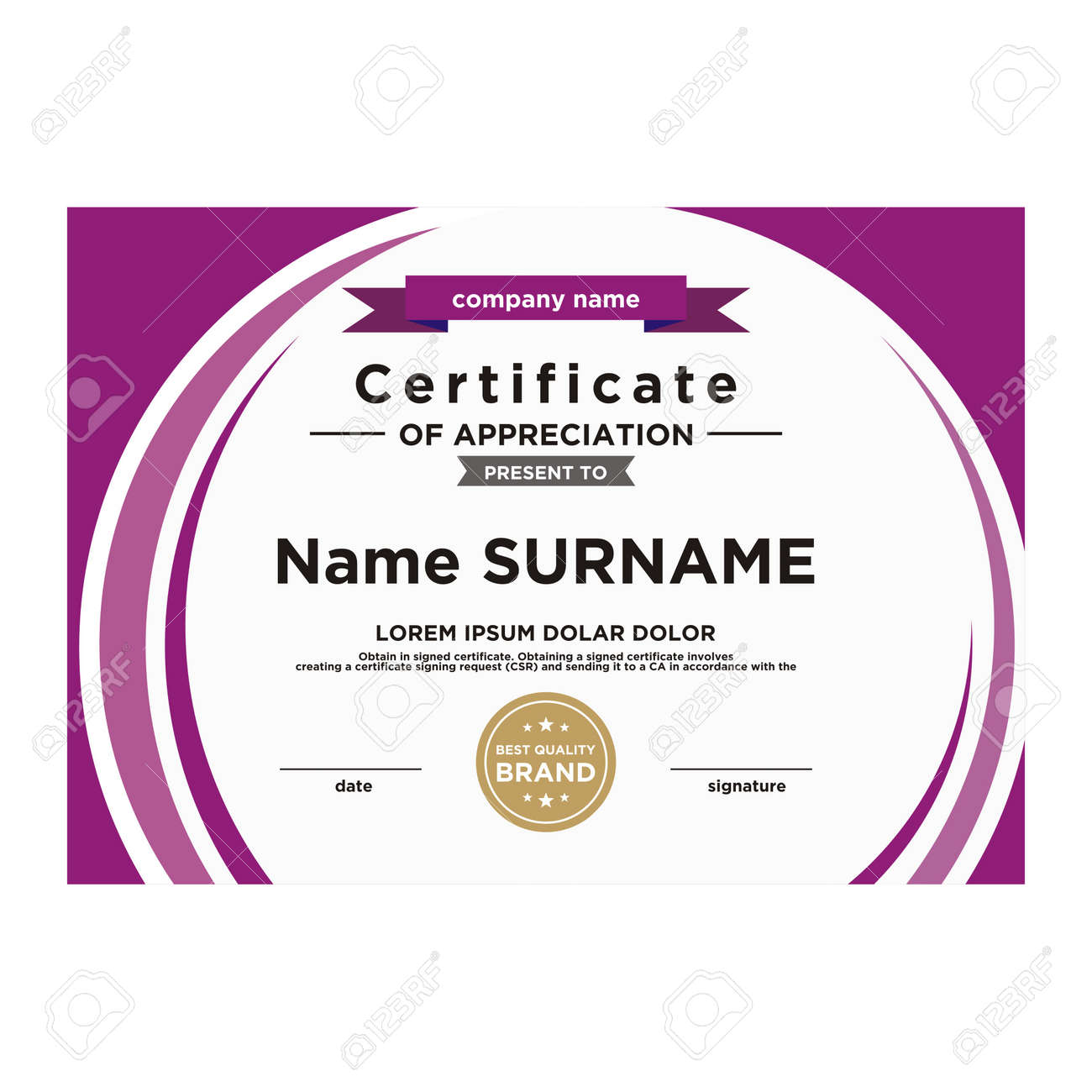 Certificate Template Design Editable Color And Shape Royalty Free