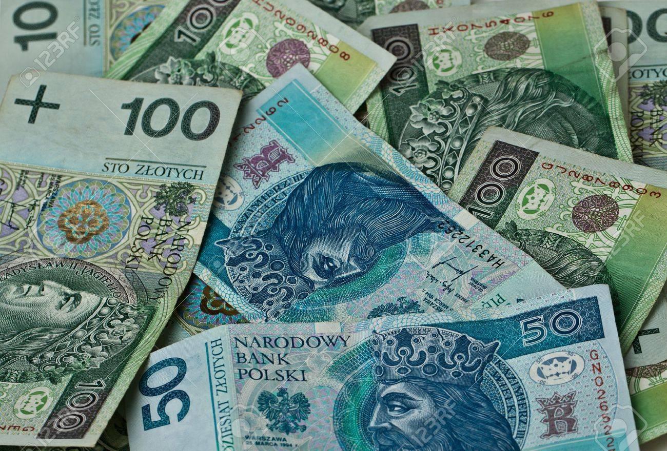 Polnisches Geld Münzen Banknoten Close Up Lizenzfreie Fotos