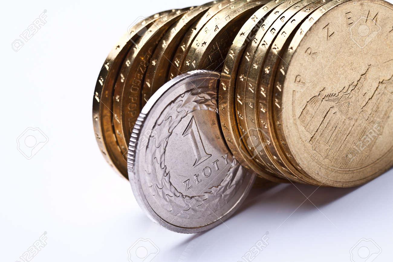 Polnisches Geld Münzen Banknoten Nahaufnahme Von Polen Währung