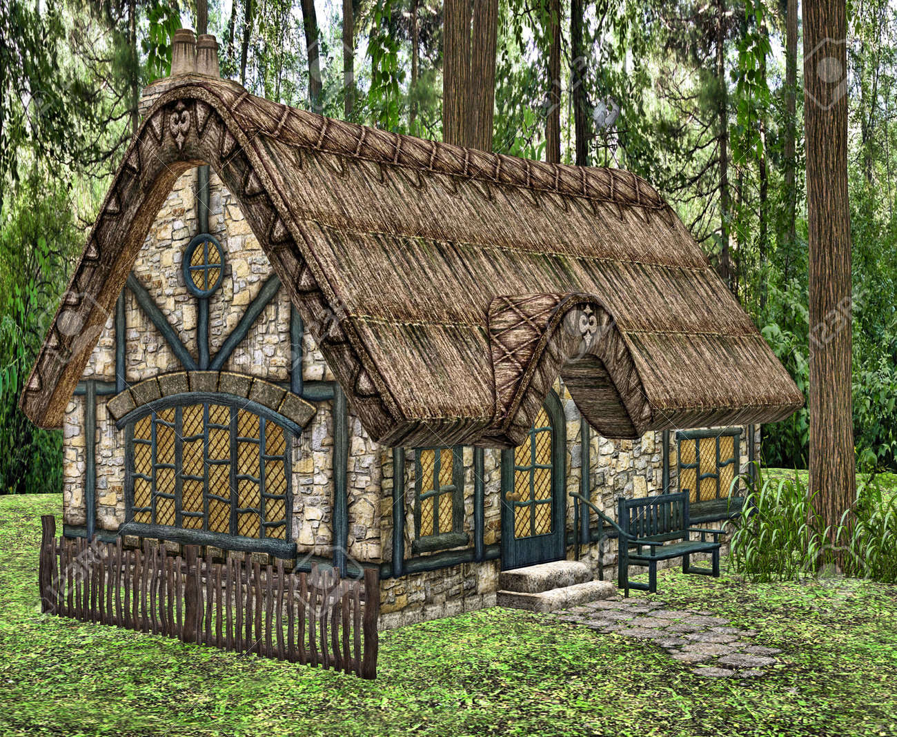A Little Fairytale Cottage In The Woods Stock Photo