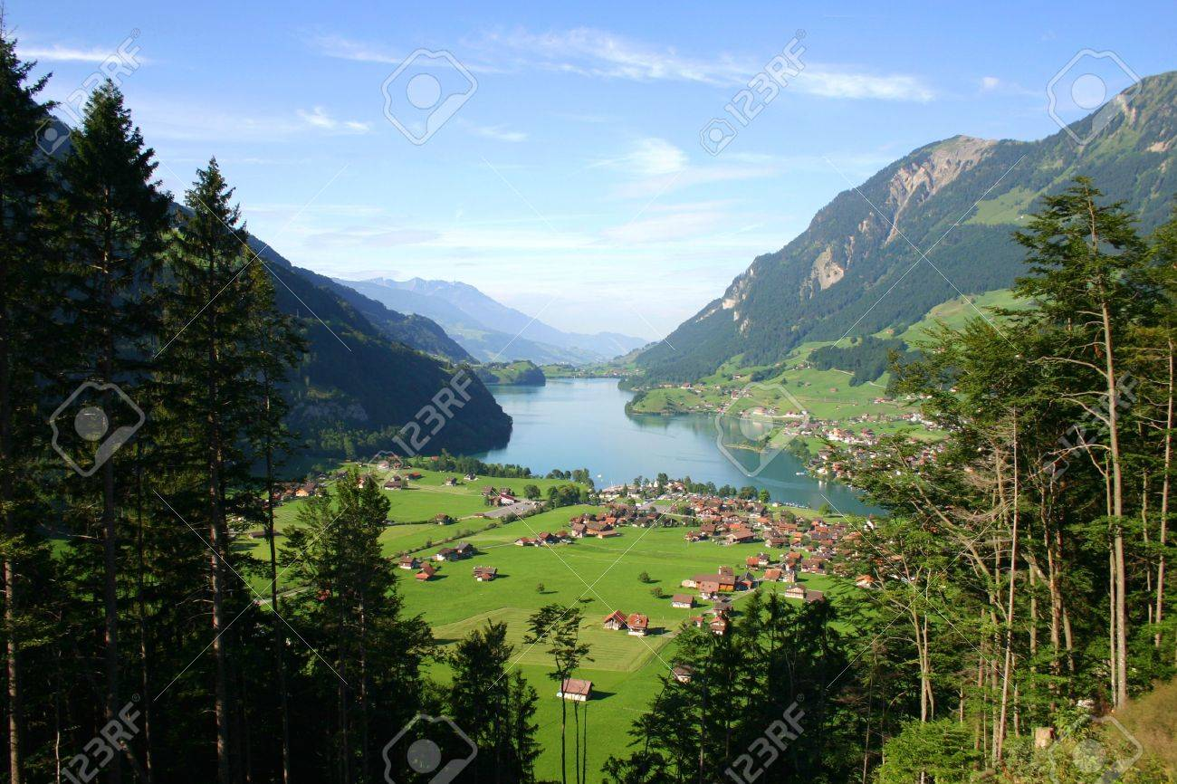 Switzerland countryside panorama view in summer Stock Photo - 5083333