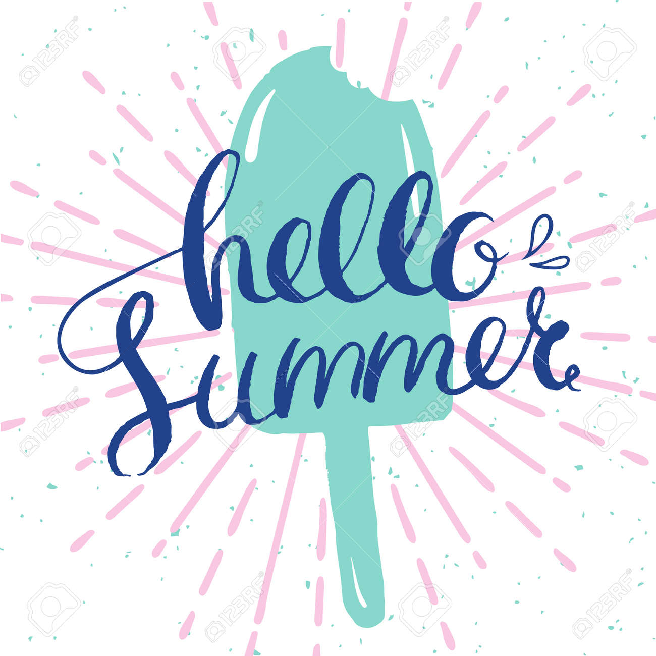 Great Hello Summer Card, Card With Ice Cream And Hand Drawn Lettering For Summer