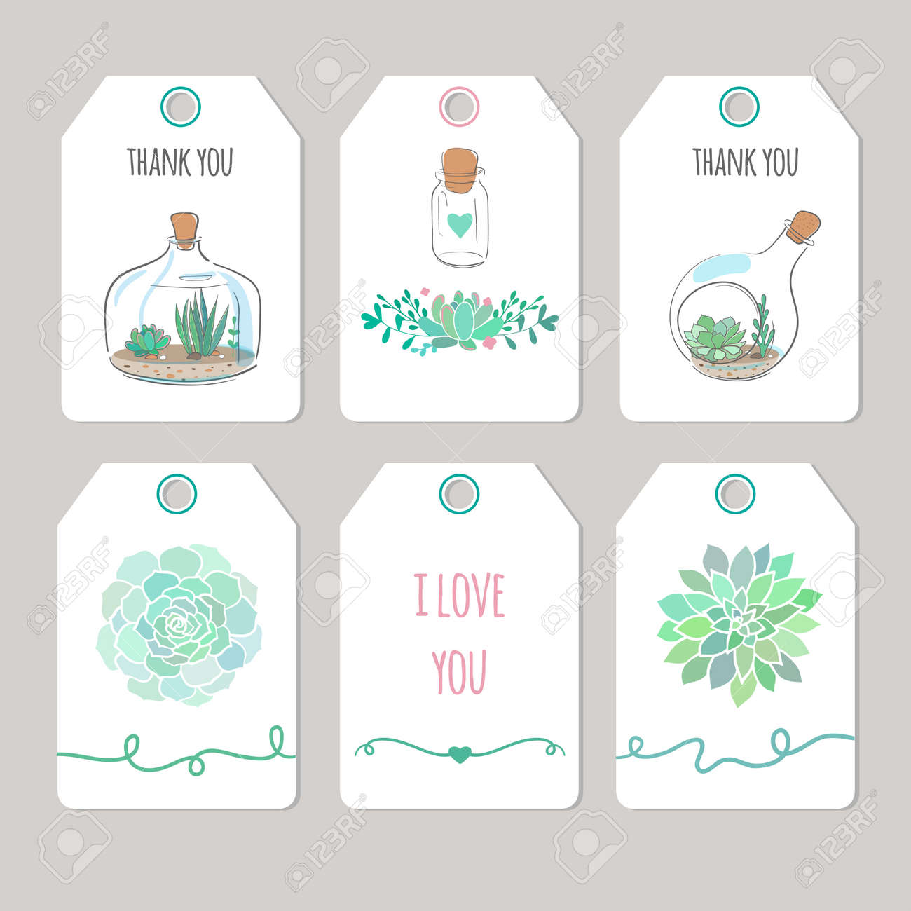 photograph regarding Thank You Printable Tag known as thank by yourself playing cards with succulents, vector printable tags and playing cards
