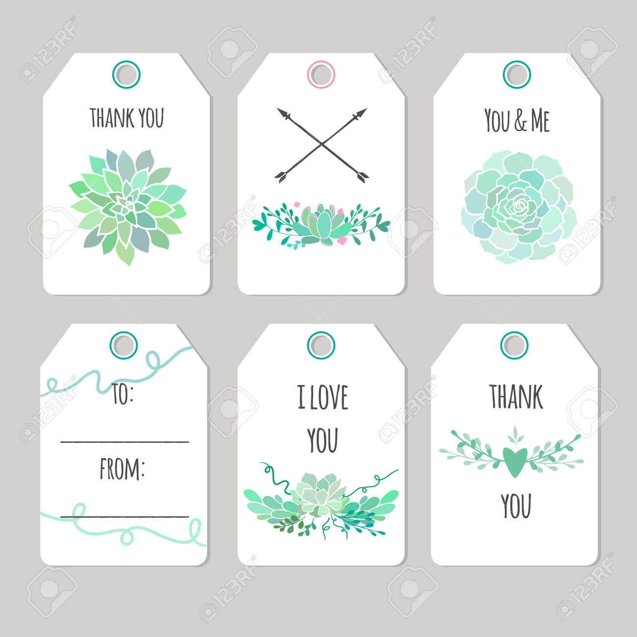 Set Of Vector Printable Gift Tags And Cards With Succulents Royalty Free Cliparts Vectors And Stock Illustration Image 64124241