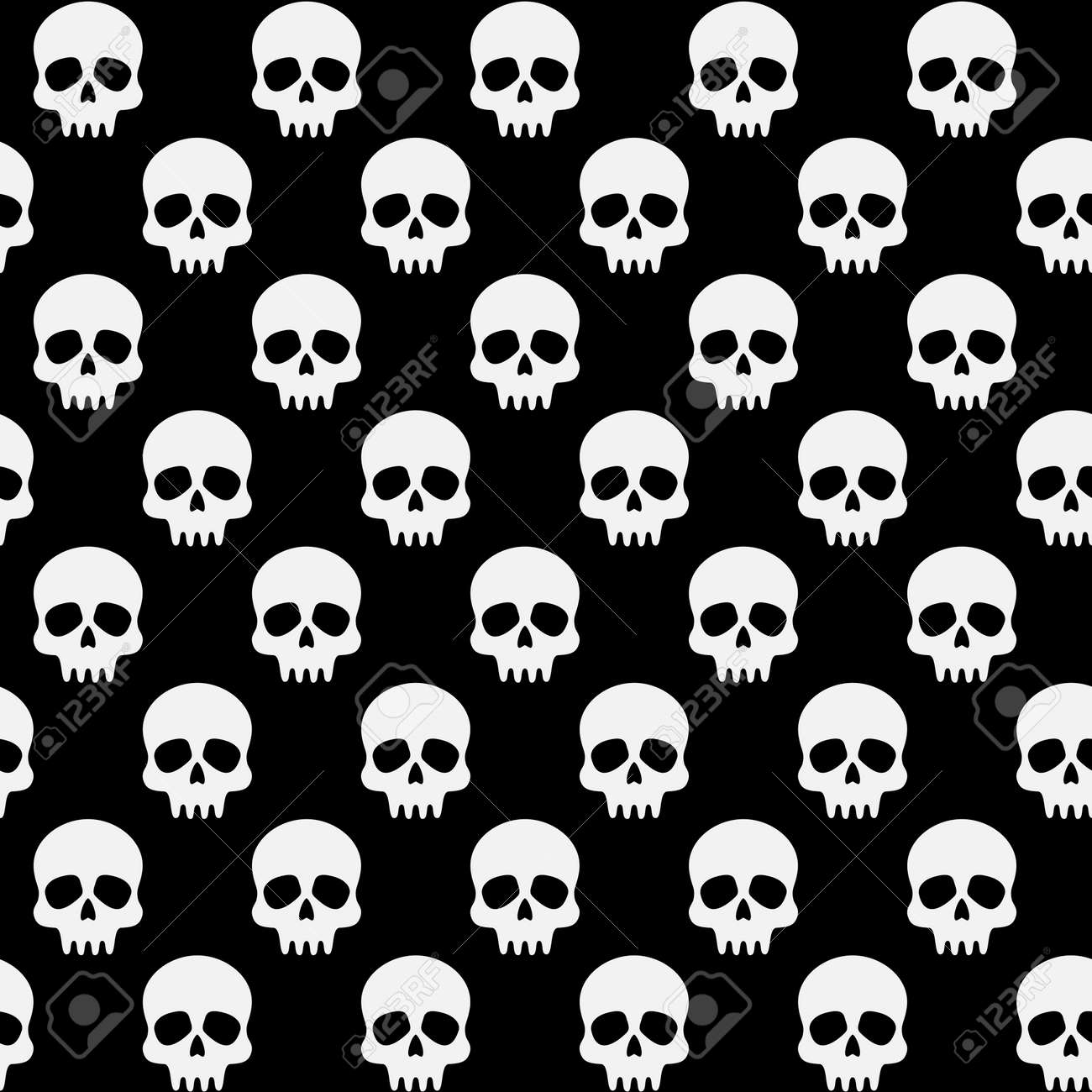 Halloween Vector Black And White.Black And White Pattern With Skulls Halloween Vector Seamless