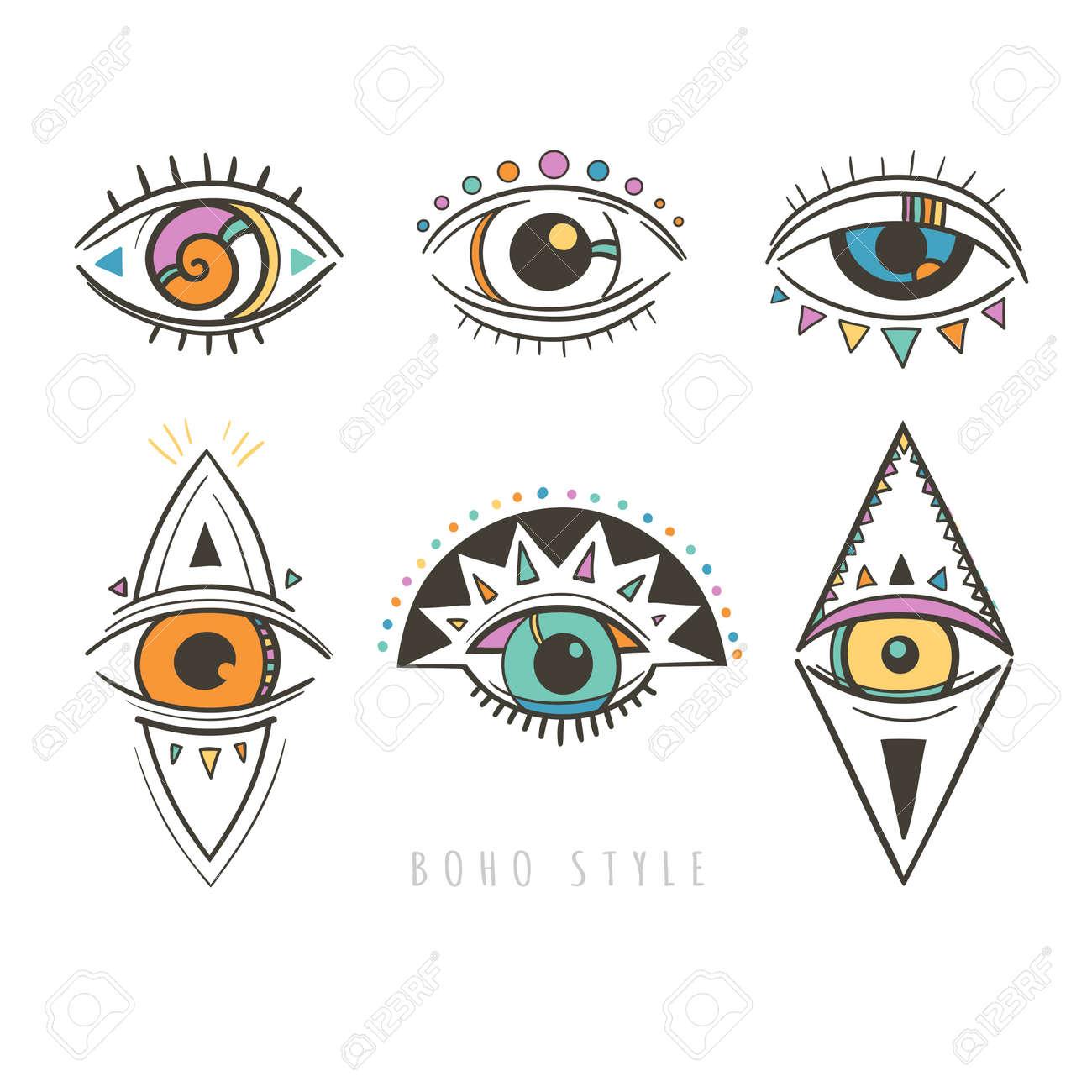 Hand Drawn Mystic Eyes Vector Illustration With Esoteric Symbols