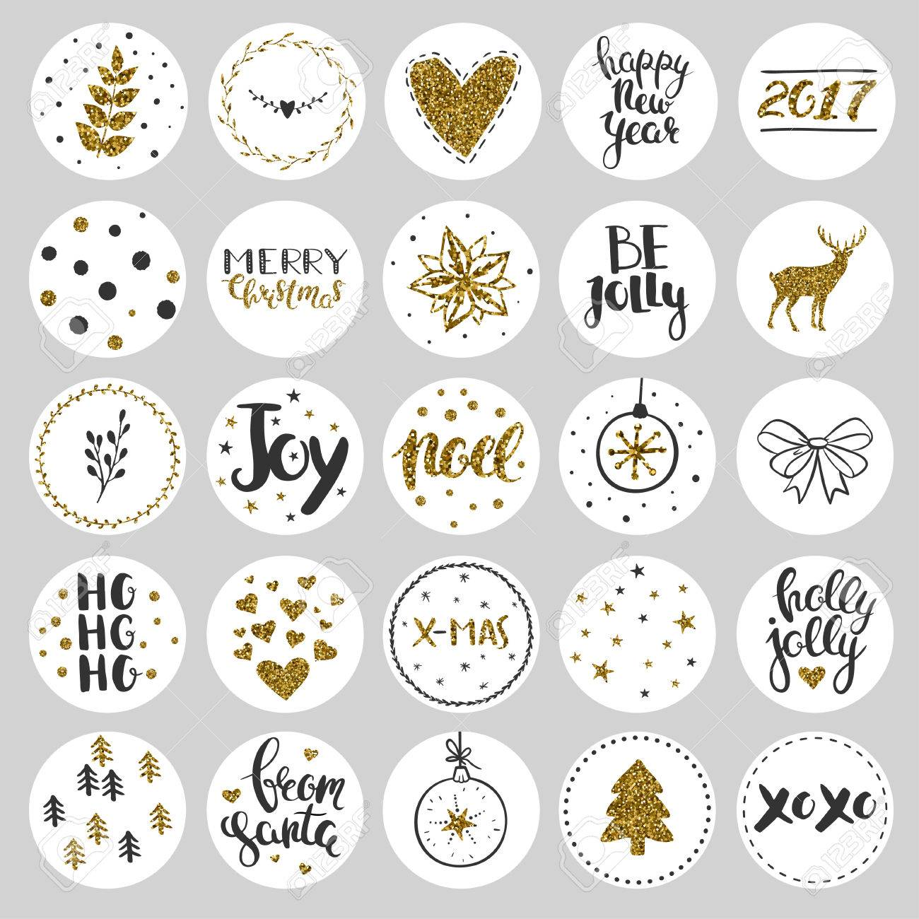 Set of round Christmas stickers. Christmas labels and stickers..
