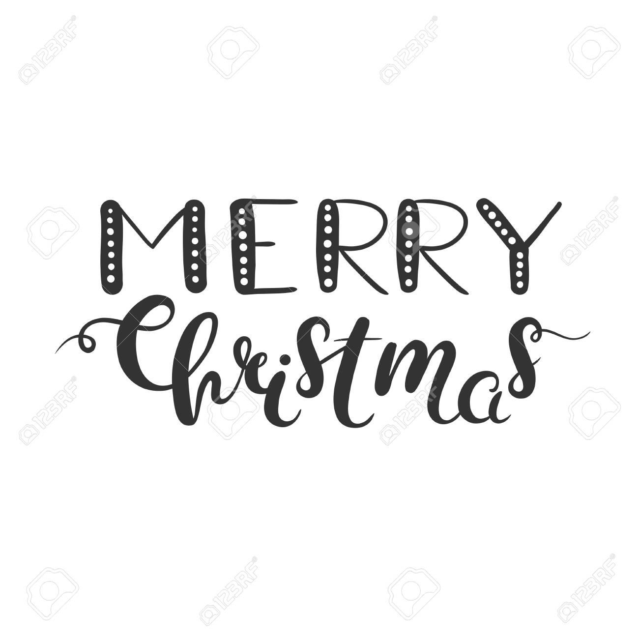 Frohe Weihnachten Schriftzug Auf Weißem Isoliert. Weihnachten ...