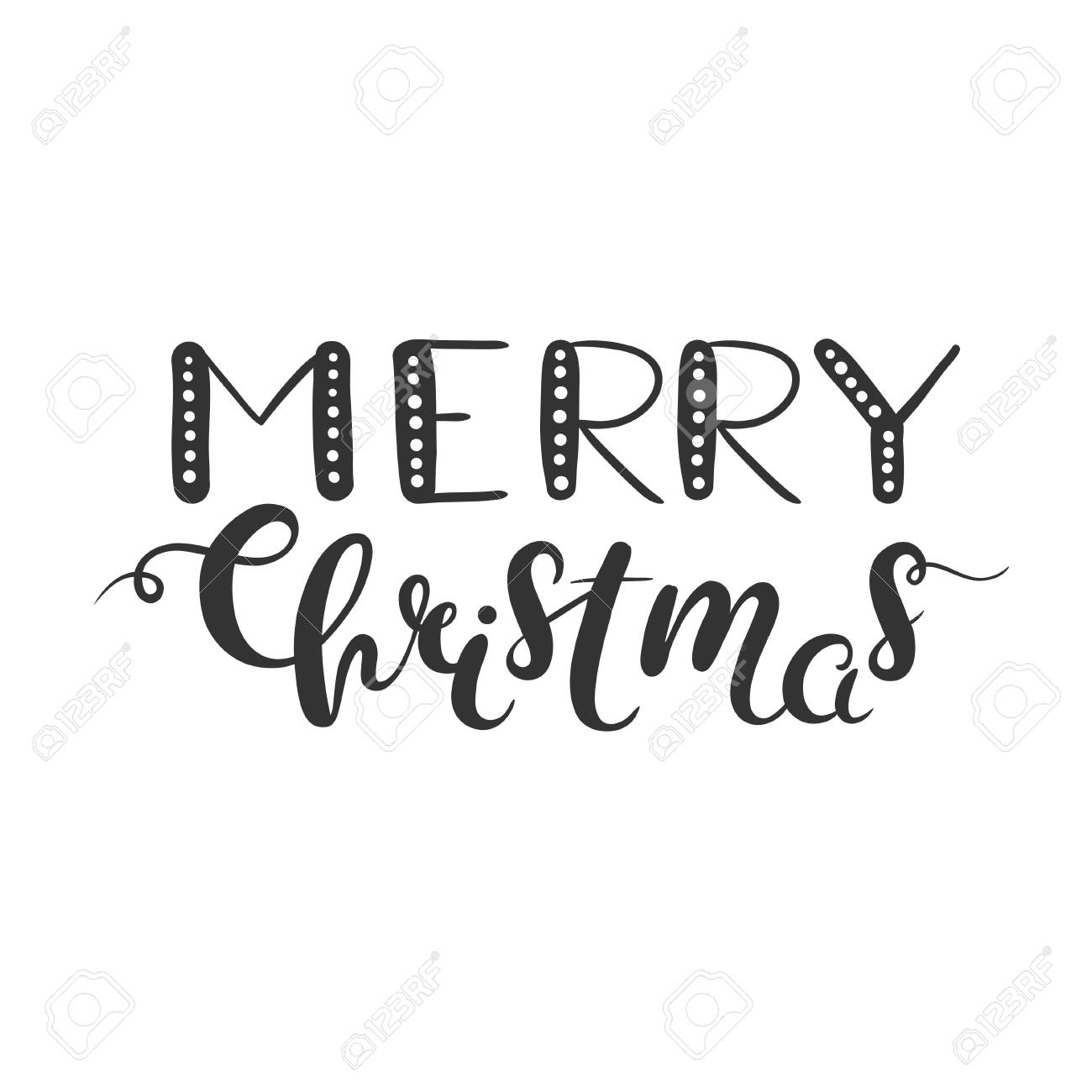 Merry Christmas Lettering Isolated On White Christmas Clipart Royalty Free Cliparts Vectors And Stock Illustration Image 69046075