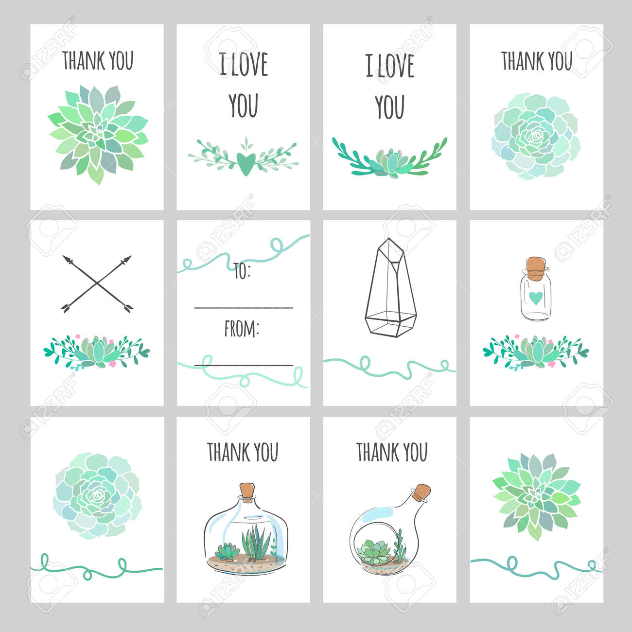 graphic about Gift Tags Printable referred to as range of vector printable present tags and labels with succulents