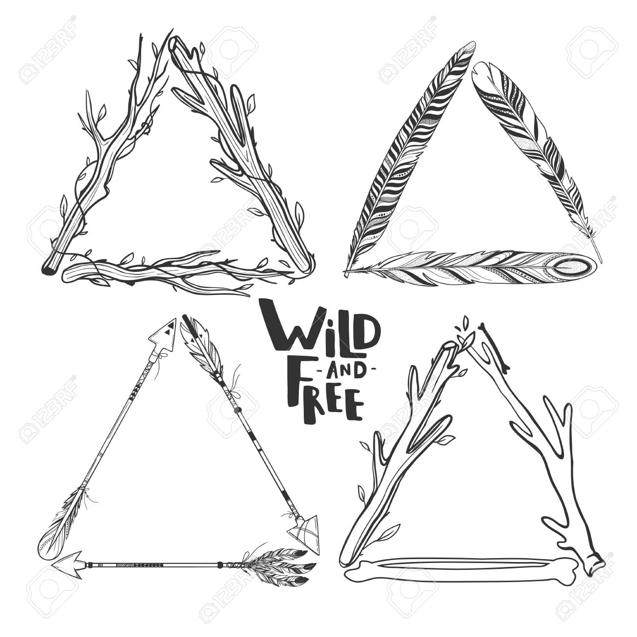 Set Of Vector Boho Triangle Frames Isolated On White With Feathers ...