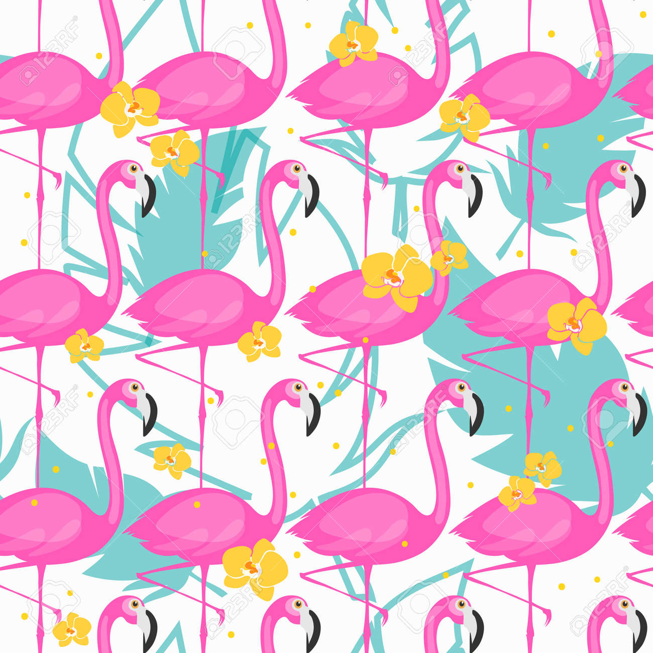 Pink Flamingos Photo Background 8x6.5ft Photography Backdrops Watercolor Flowers and Leaves Pattern Pink and White Stripes Backdrop Kid Audults Baby Pohoto Portrails Artistic Studio Props