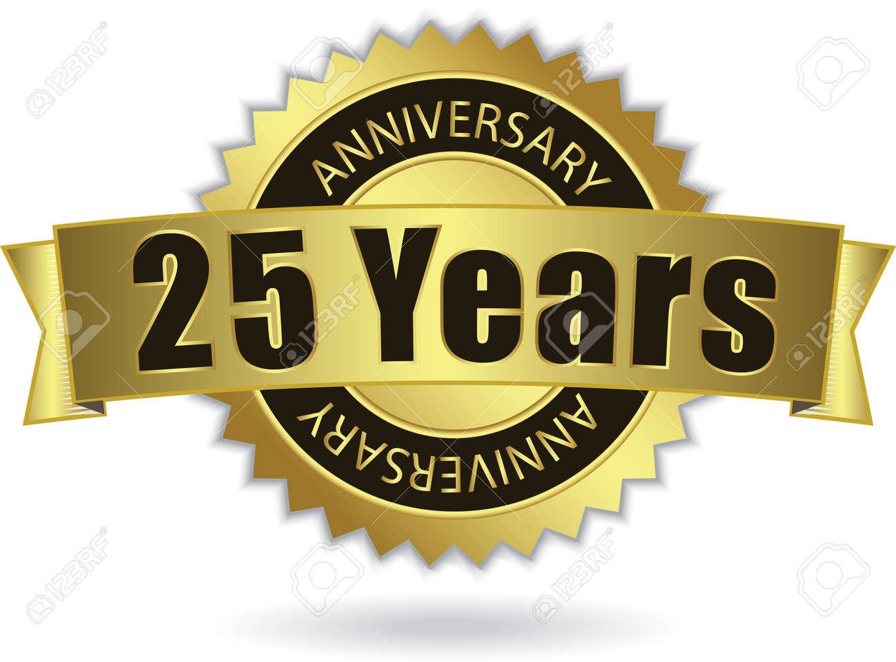 25 years anniversary retro golden ribbon royalty free cliparts