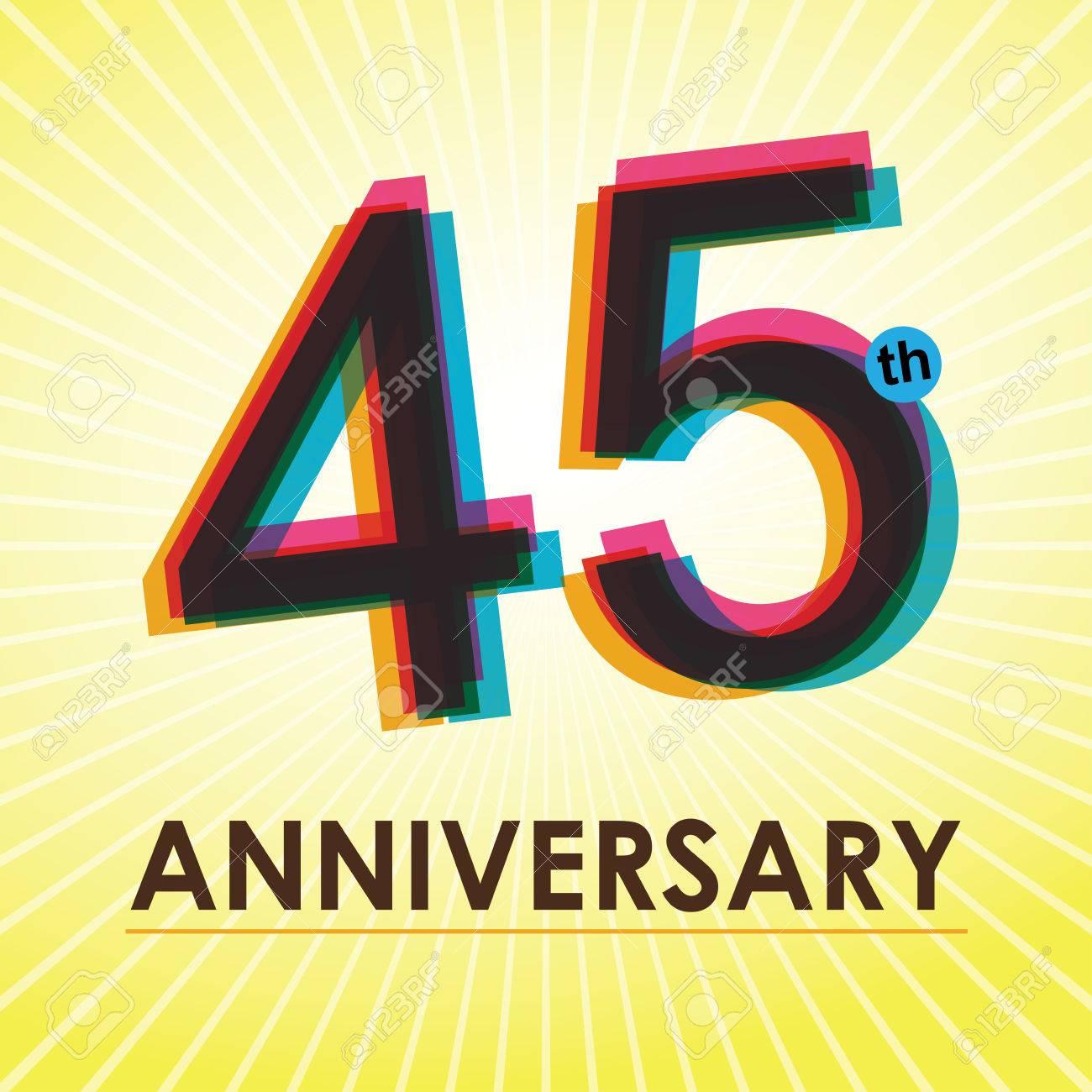 45 Aniversario Diseño De La Plantilla Del Cartel De Estilo Retro ...