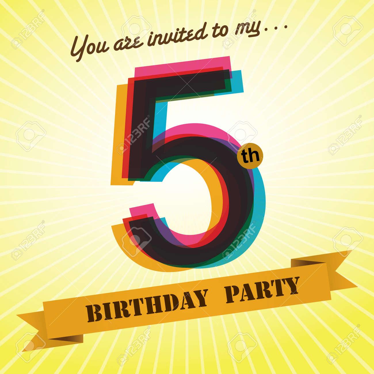 5th Birthday Party Invite Template Design Retro Style Vector – 5th Birthday Party Invitation