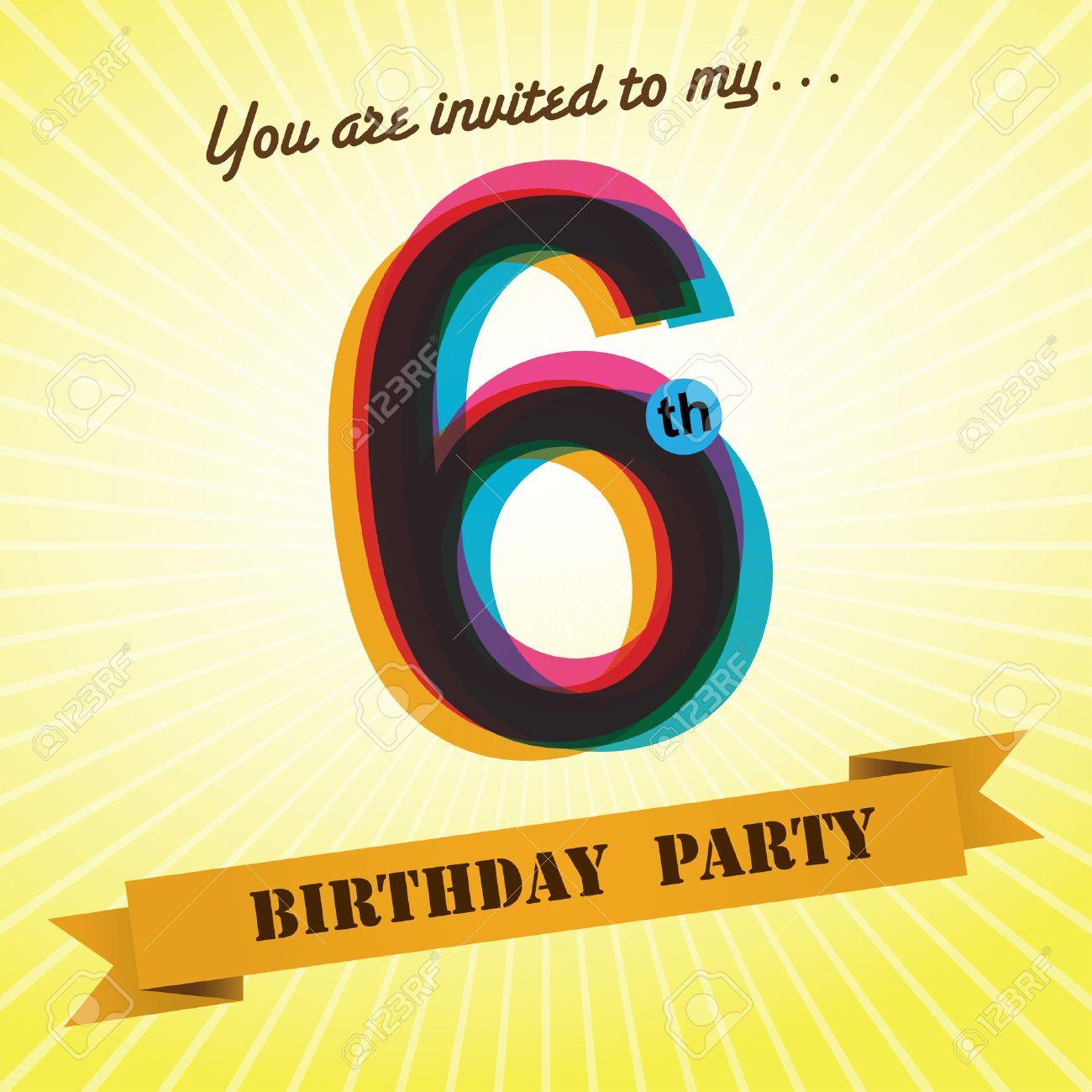 6th birthday party invite template design retro style vector 6th birthday party invite template design retro style vector stock vector 27373599