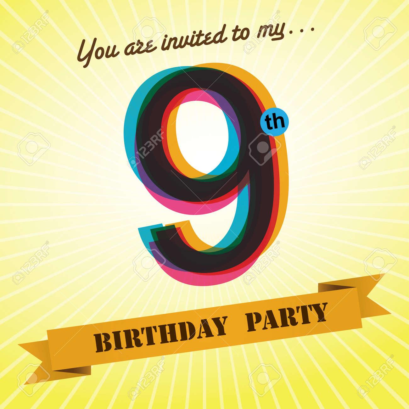 9th Birthday Party Invite Template Design Retro Style