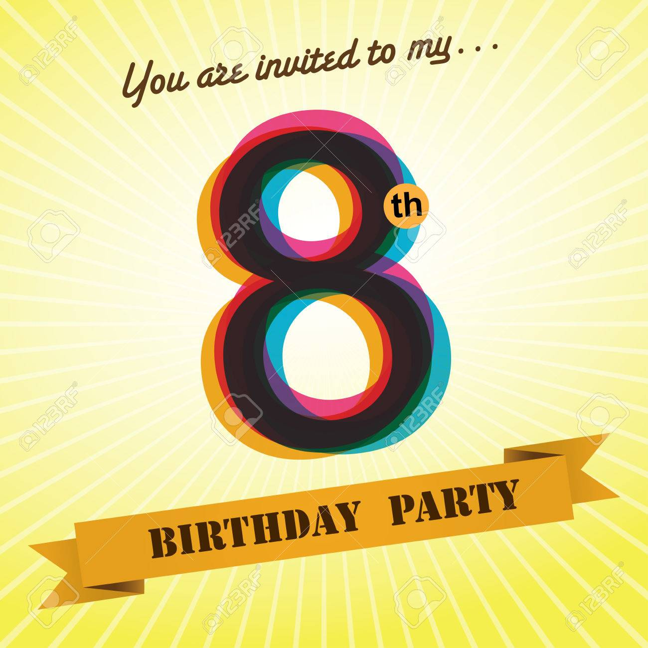 8th Birthday Party Invite Template Design Retro Style