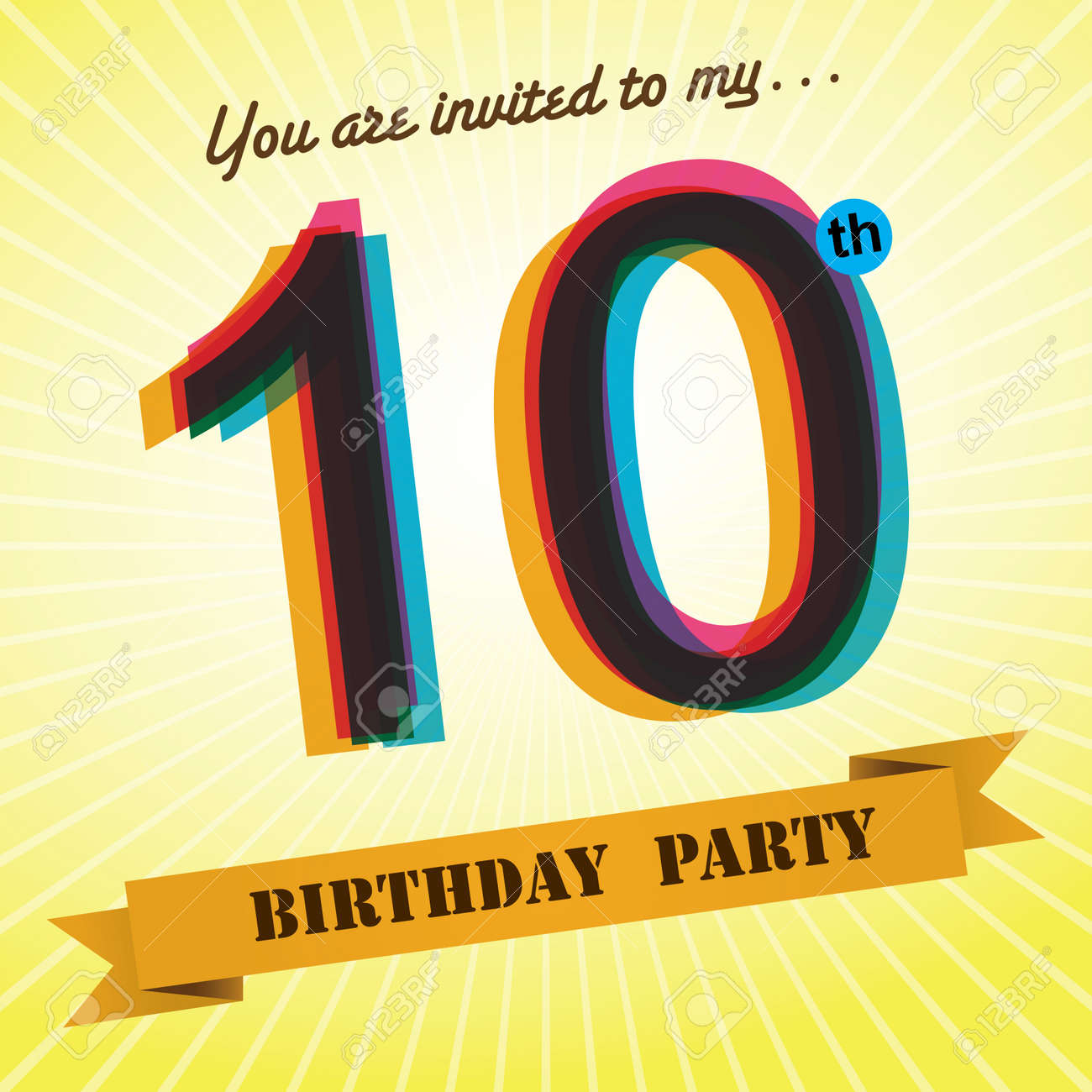 10th Birthday Party Invite Template Design Retro Style