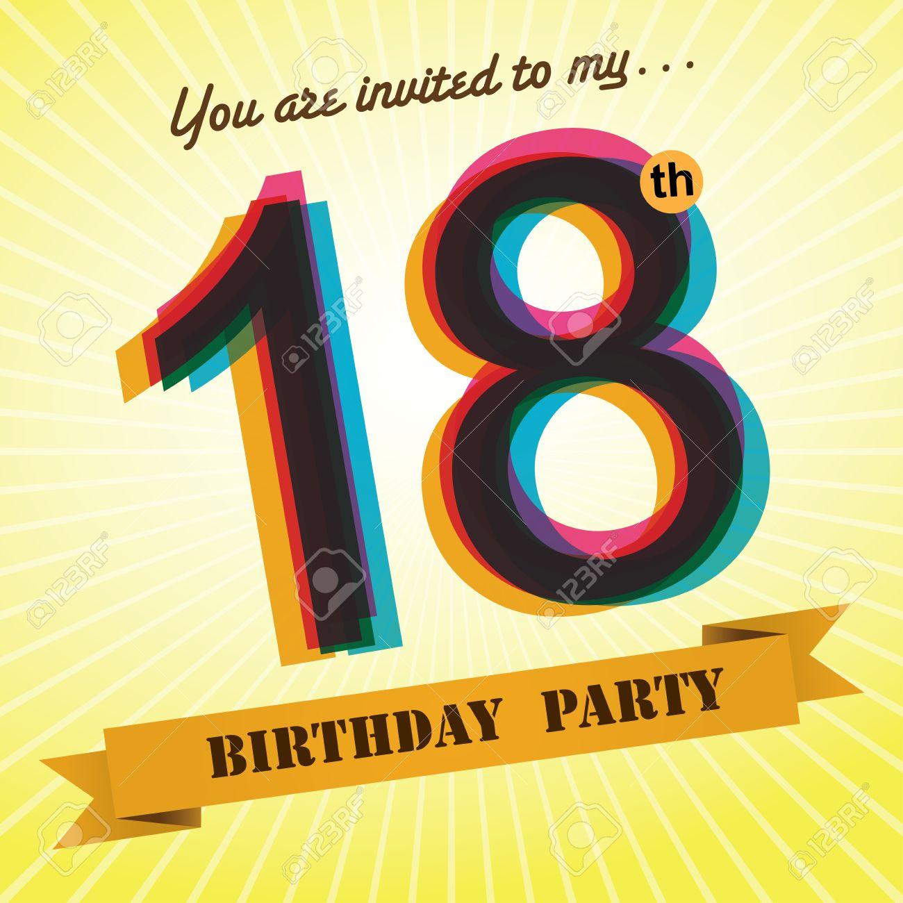 18th birthday party invite template design retro style vector 18th birthday party invite template design retro style vector stock vector 27373604