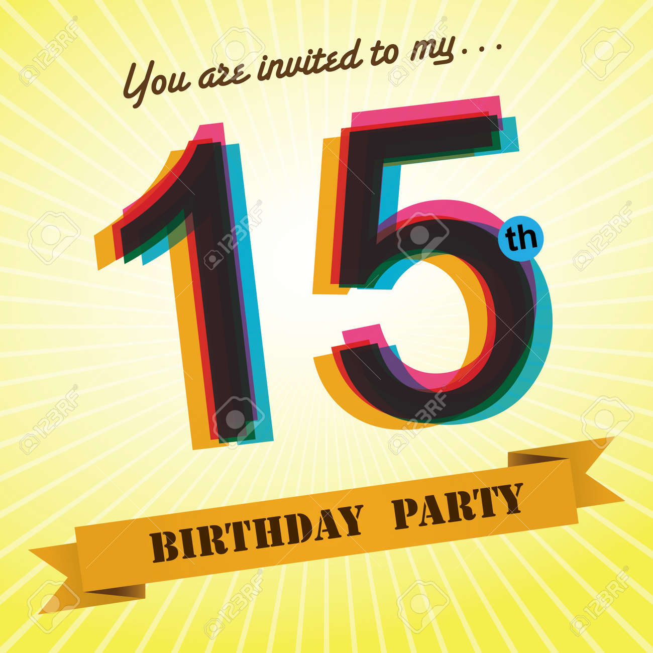 15th Birthday Party Invite Template Design Retro Style