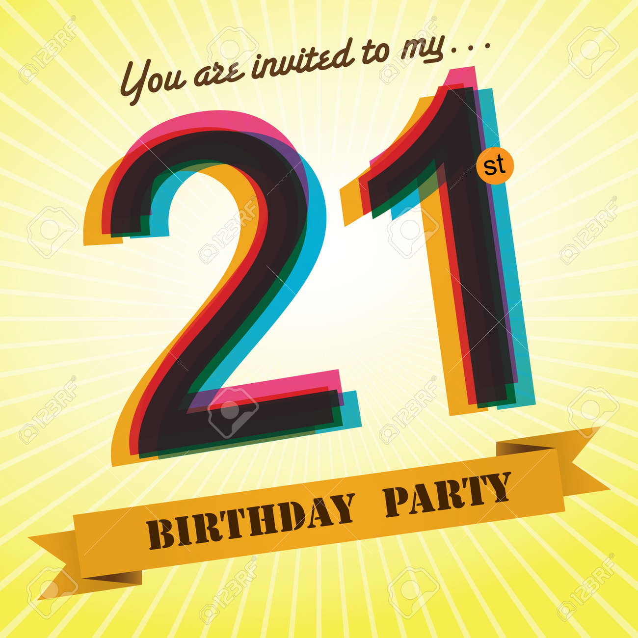 21st Birthday Party Invite Template Design Retro Style Vector Royalty Free Cliparts Vectors And Stock Illustration Image 27373609