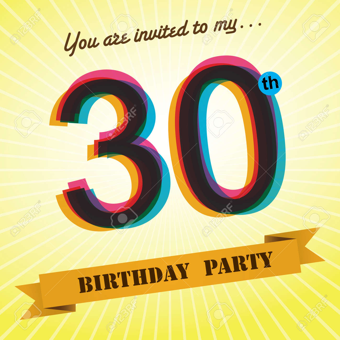 30th Birthday Party Invite Template Design Retro Style Vector