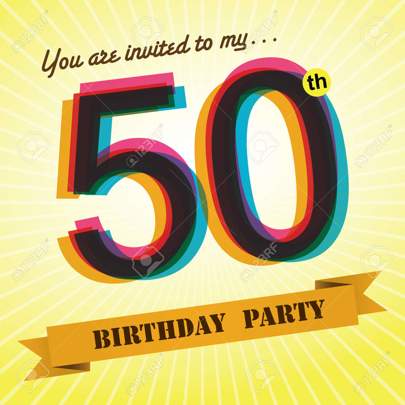 50th Birthday Party Invite Template Design Retro Style