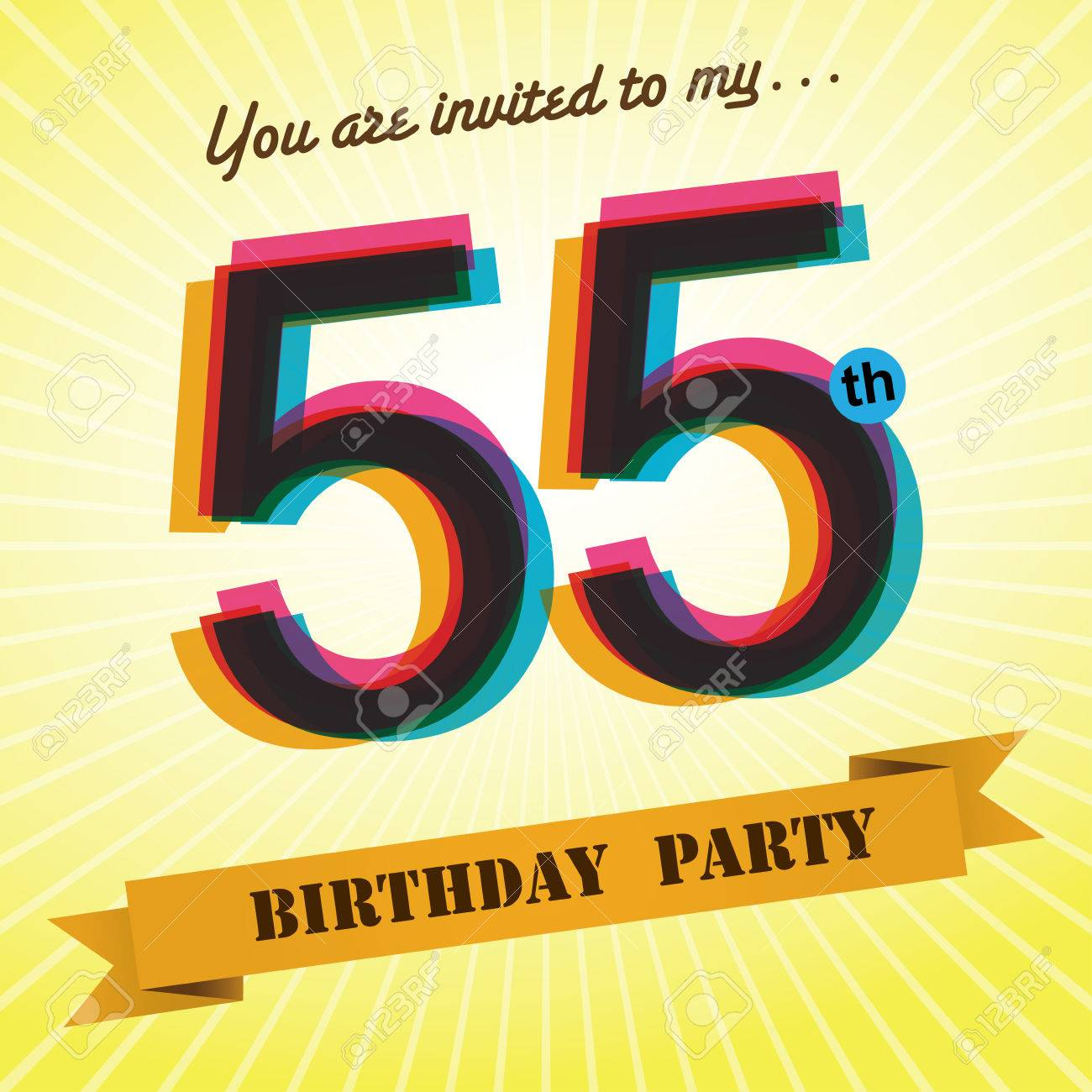 55th Birthday Party Invite Template Design Retro Style