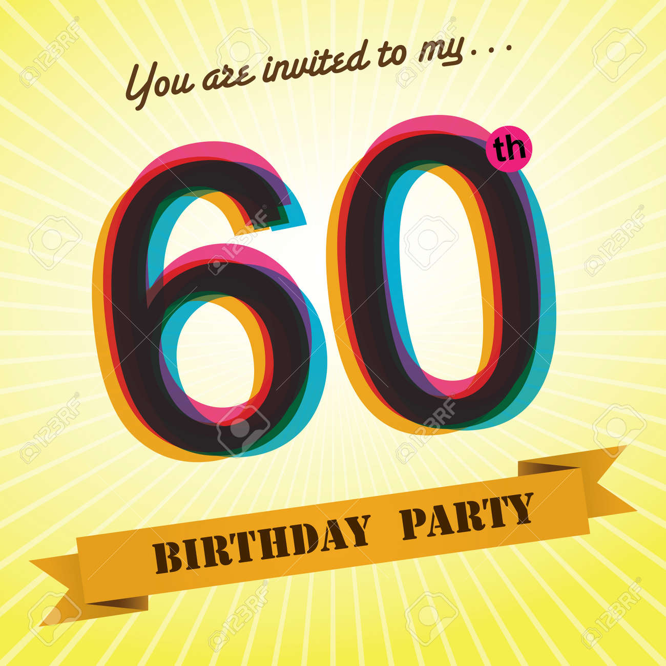 60th Birthday Party Invite Template Design Retro Style