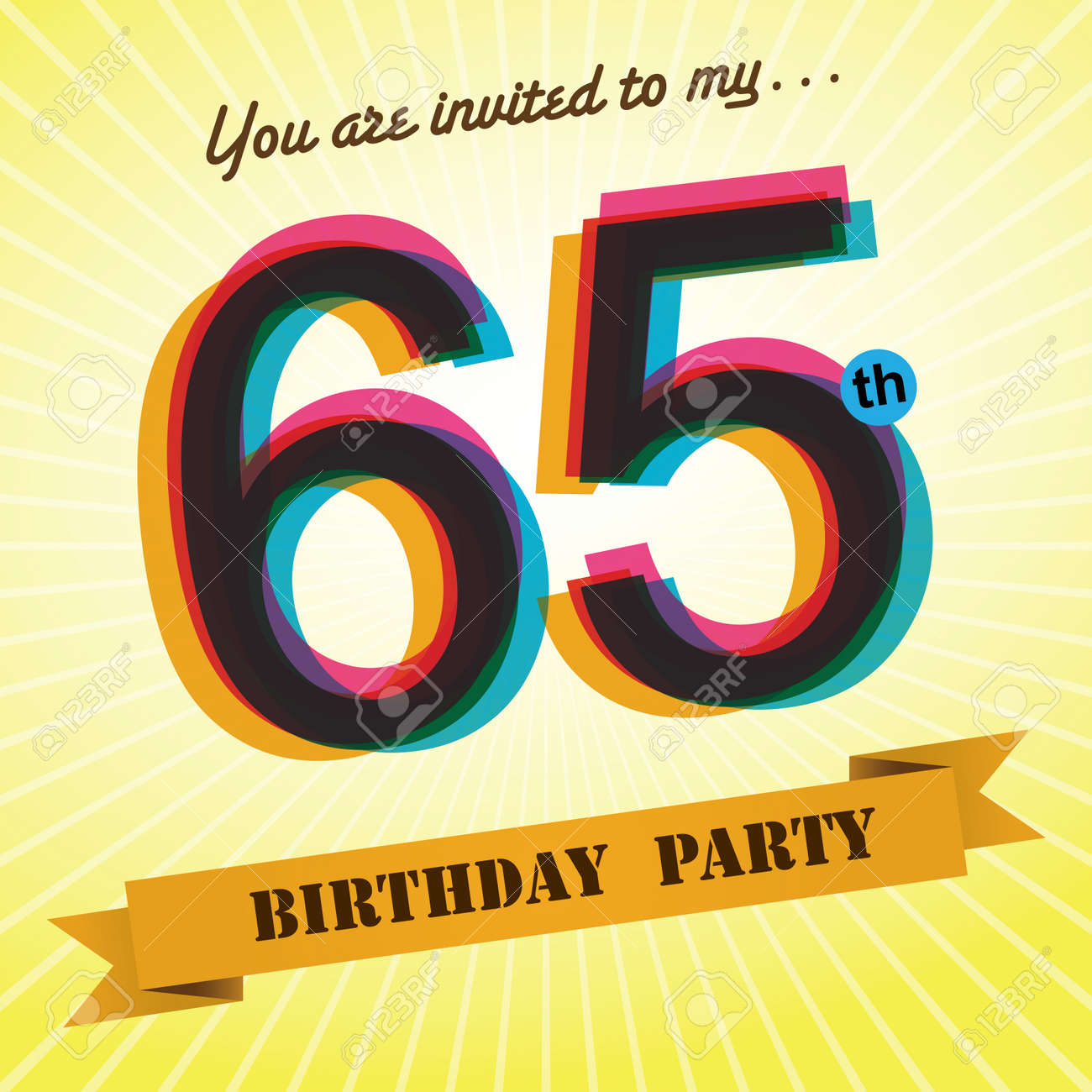 65th Birthday Party Invite Template Design Retro Style