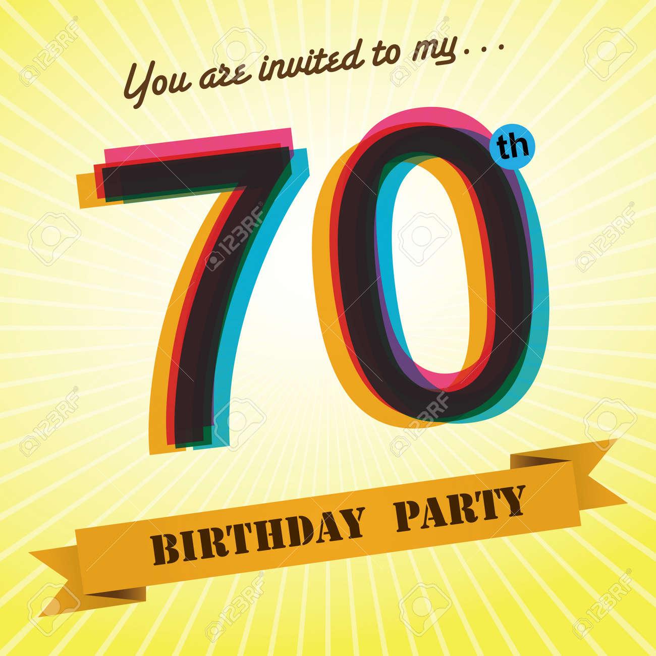 70th Birthday Party Invite Template Design Retro Style