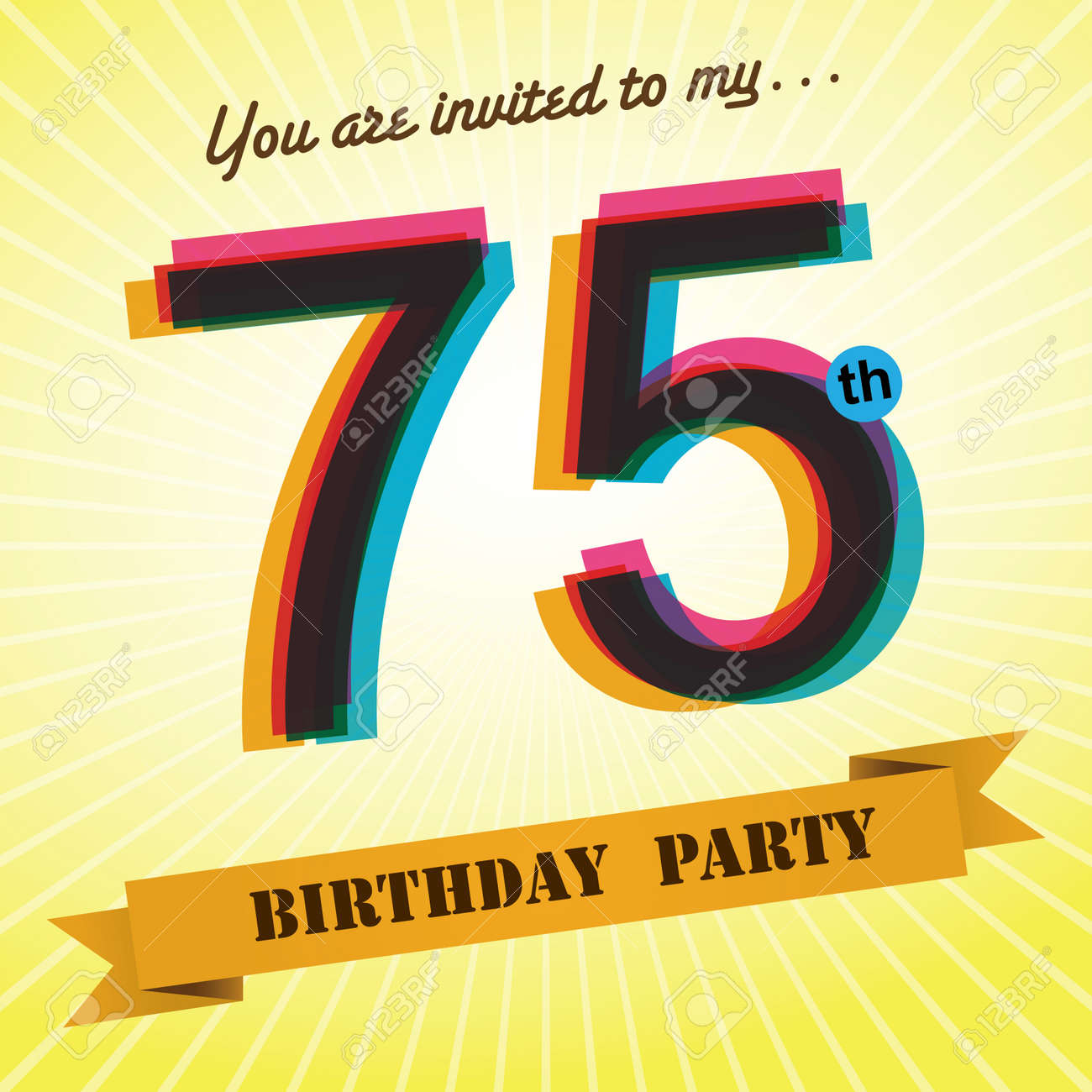 75th Birthday Party Invite Template Design Retro Style