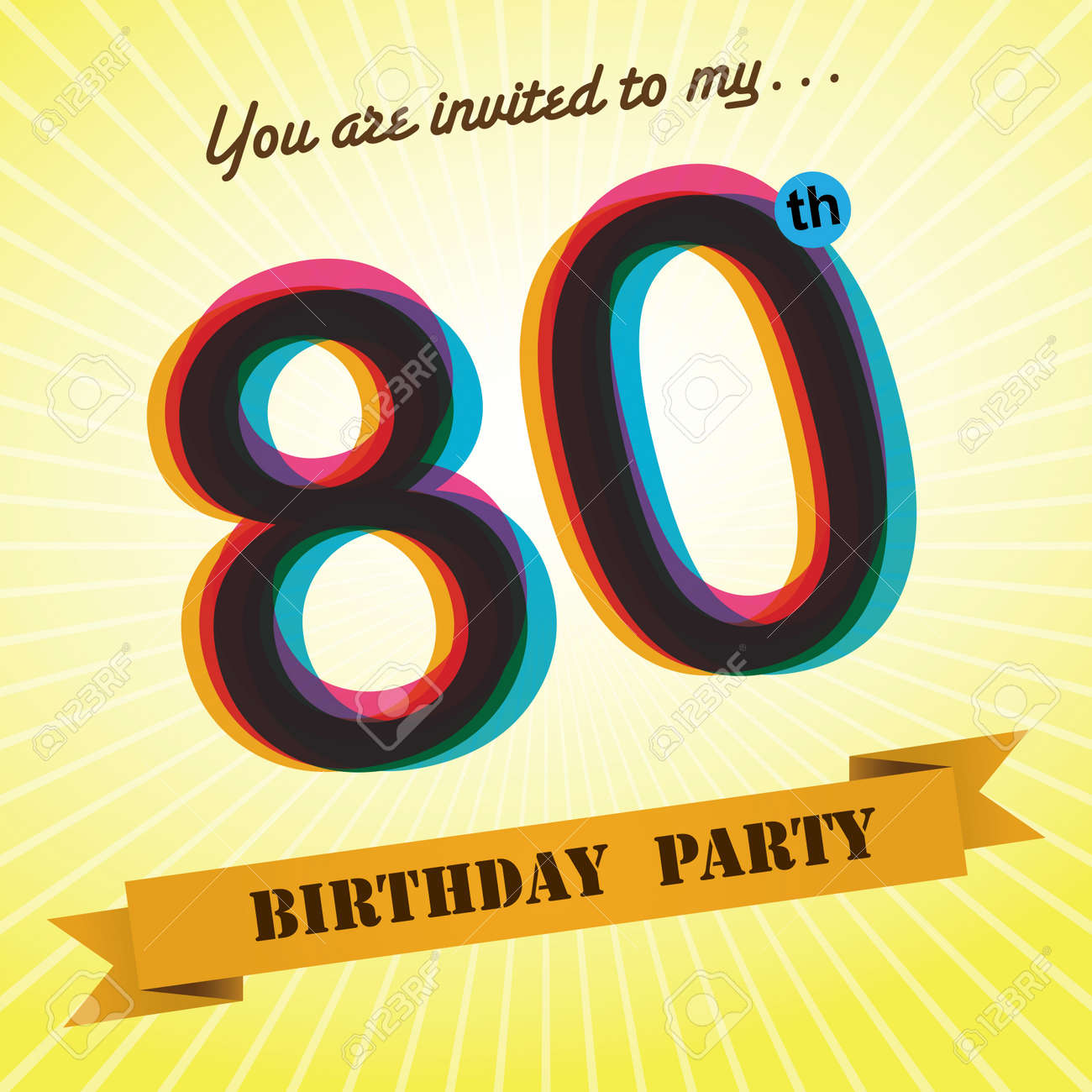 80th Birthday Party Invite Template Design Retro Style