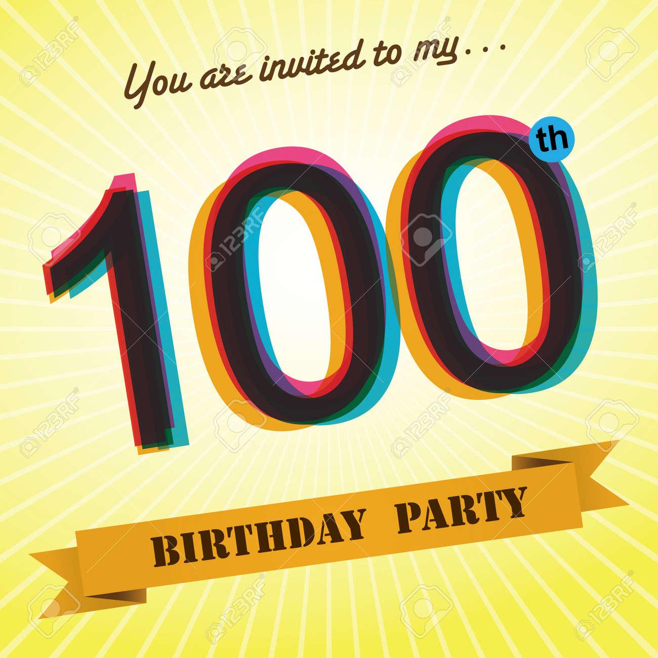 100th birthday party invite template design retro style vector 100th birthday party invite template design retro style vector stock vector 27373622