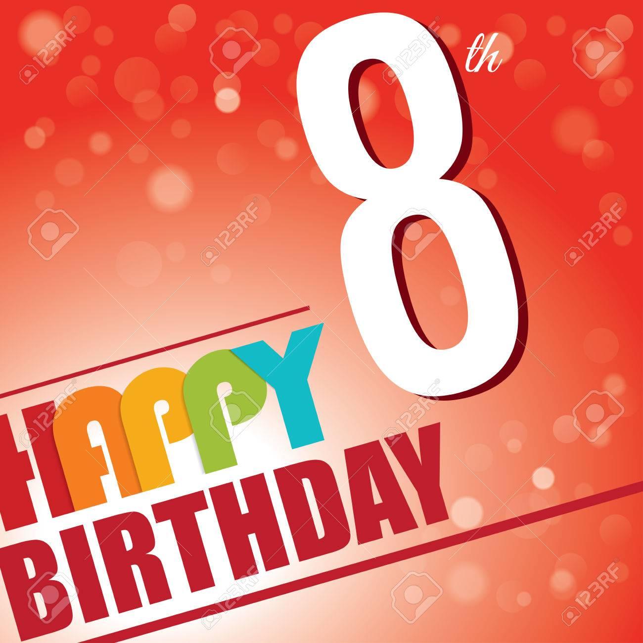 8th Birthday Party Invite Template Design In Bright And Colourful