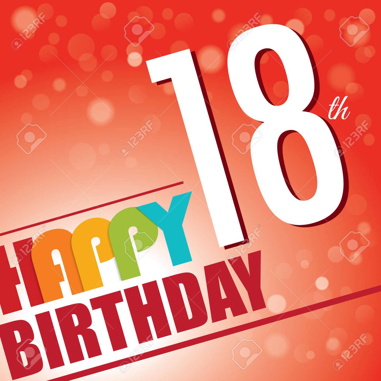 18th Birthday Party Invite Template Design In Bright And Colourful Retro Style Stock Vector
