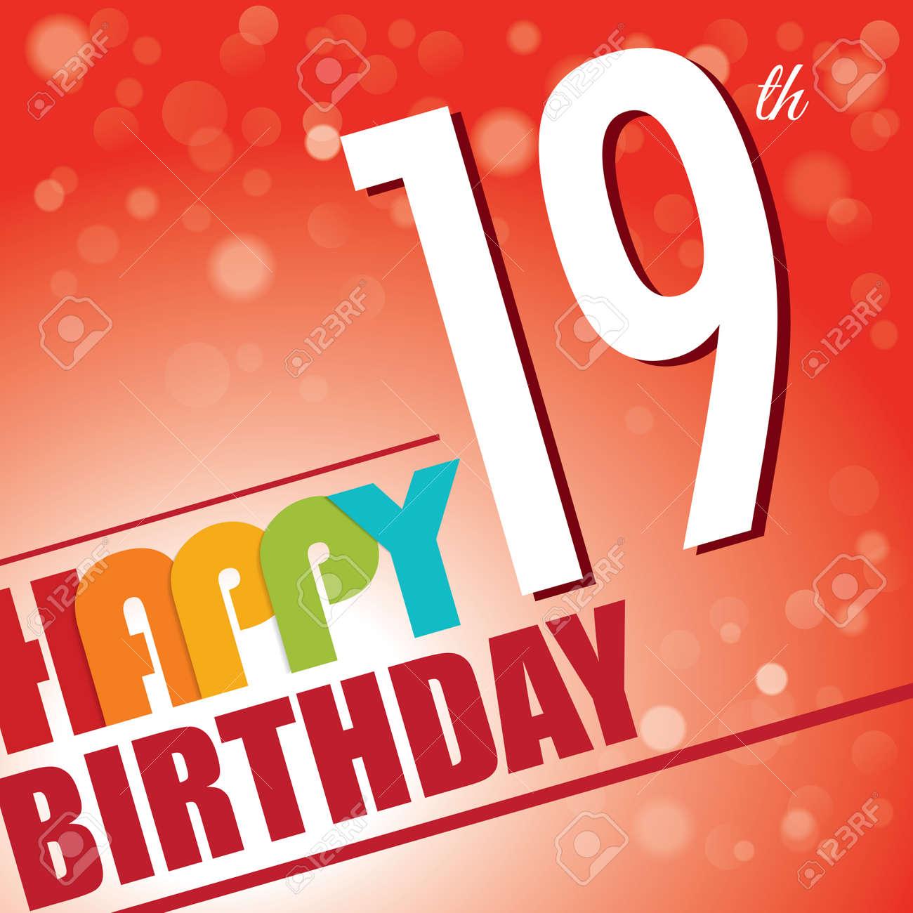 19th Birthday Party Invite Template Design In Bright And Colourful ...