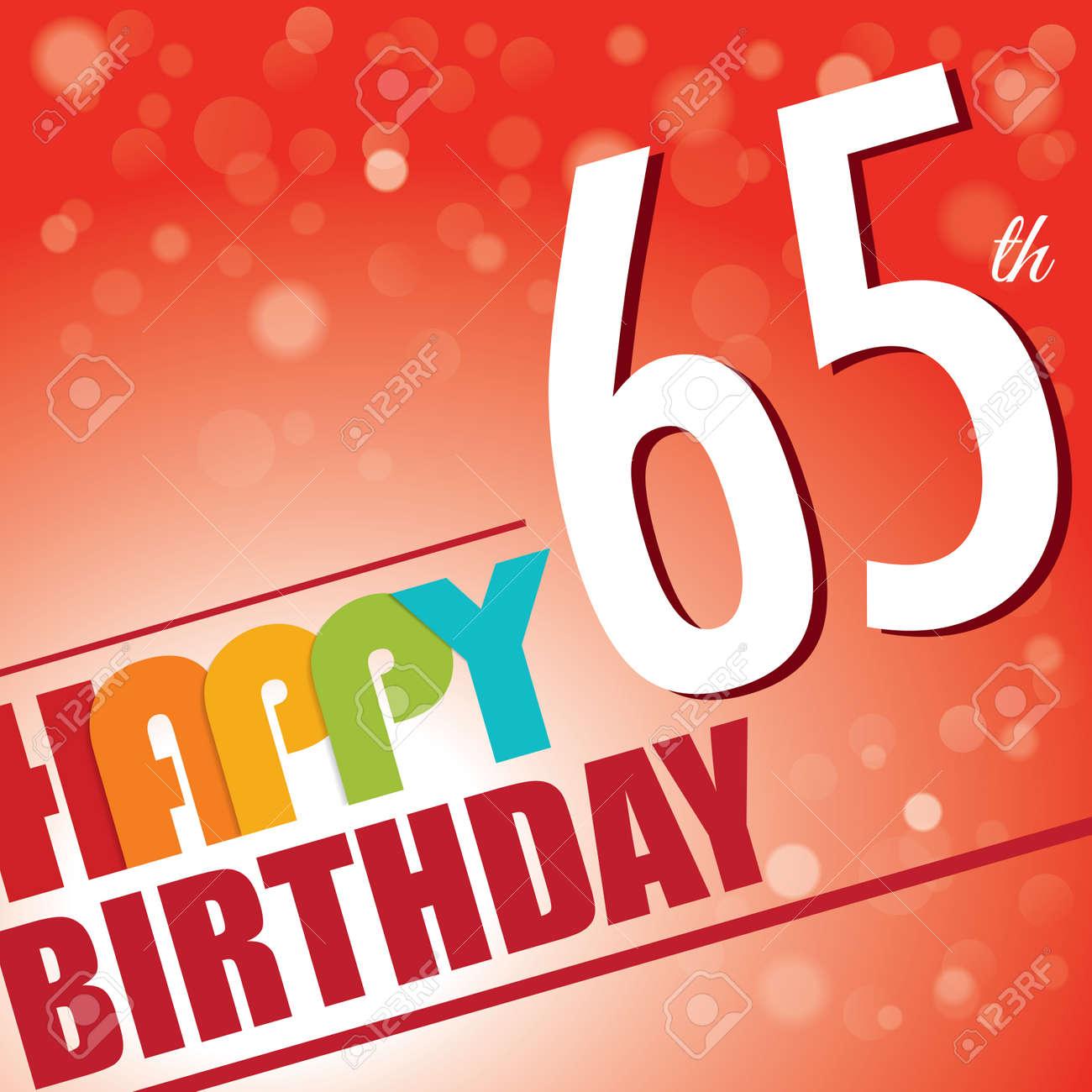 65th Birthday Party Invite Template Design In Bright And Colourful Retro Style
