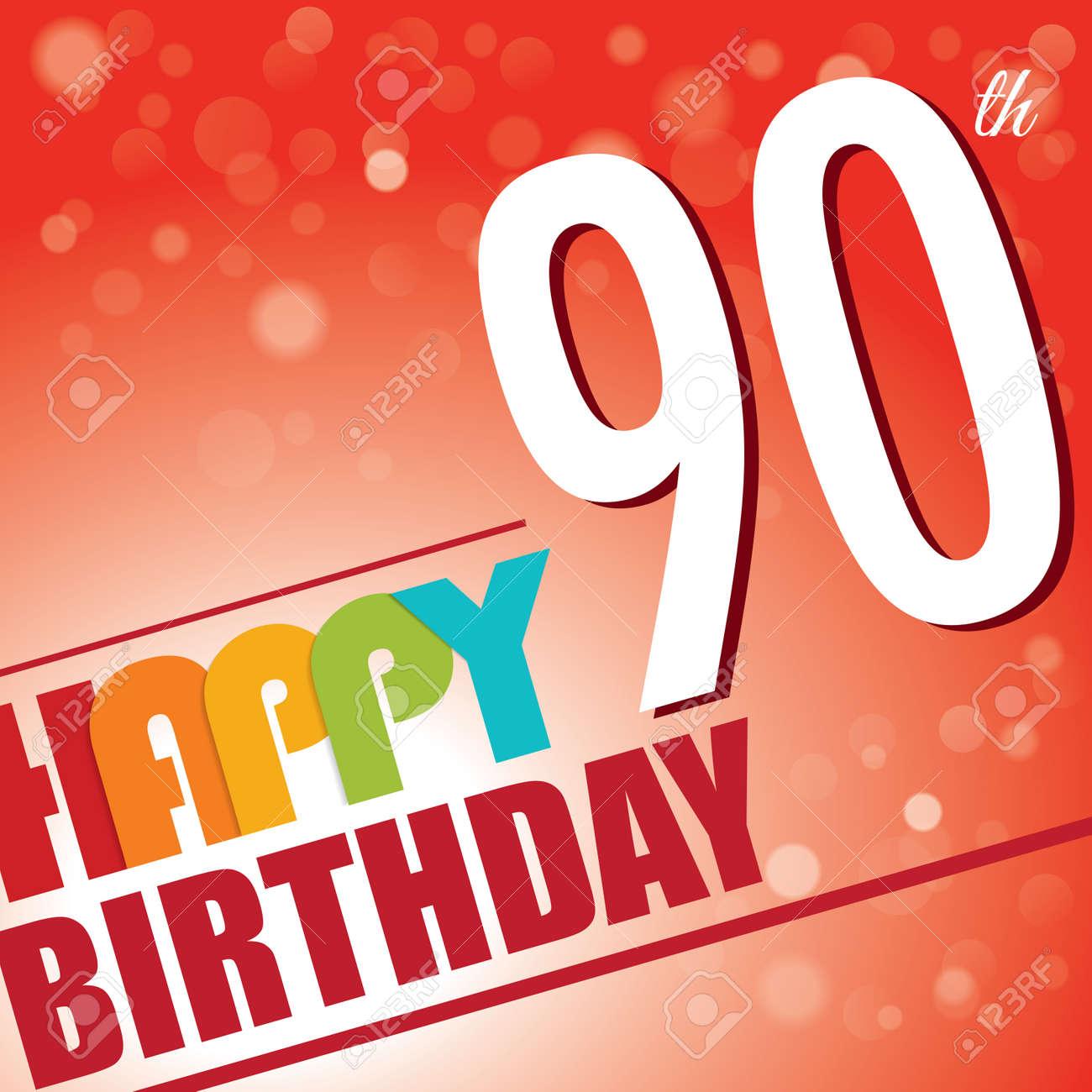 90th Birthday Party Invite Template Design In Bright And Colourful ...