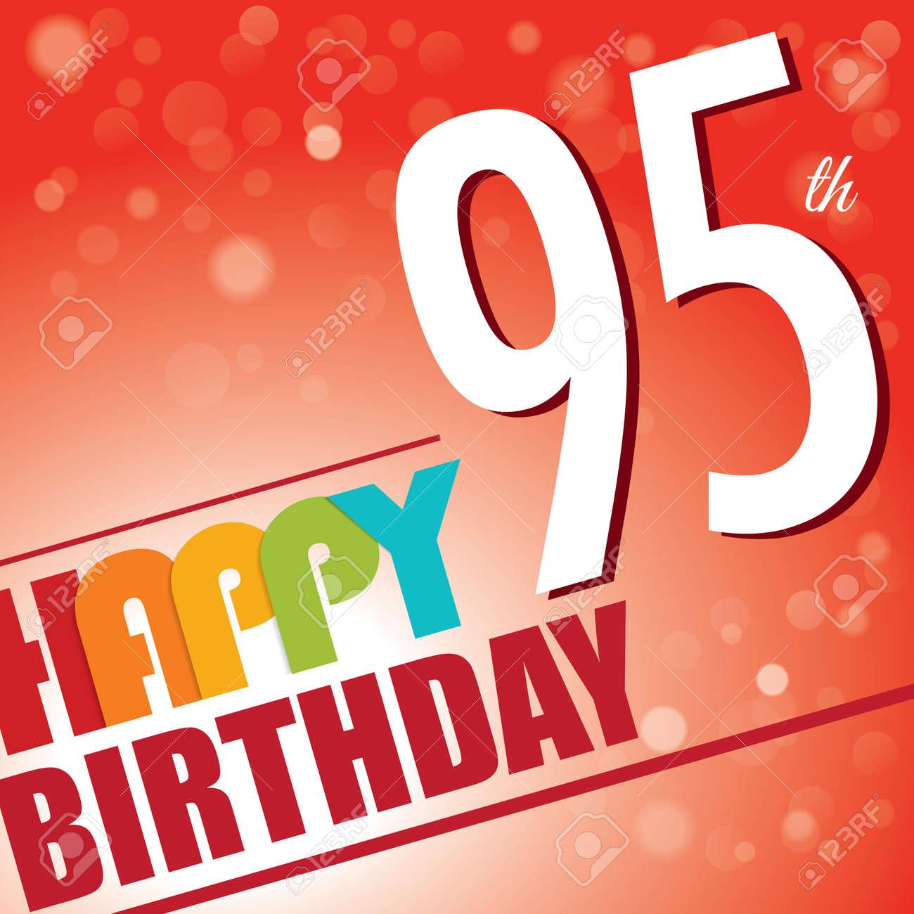 95th Birthday Party Invite Template Design In Bright And Colourful Retro Style