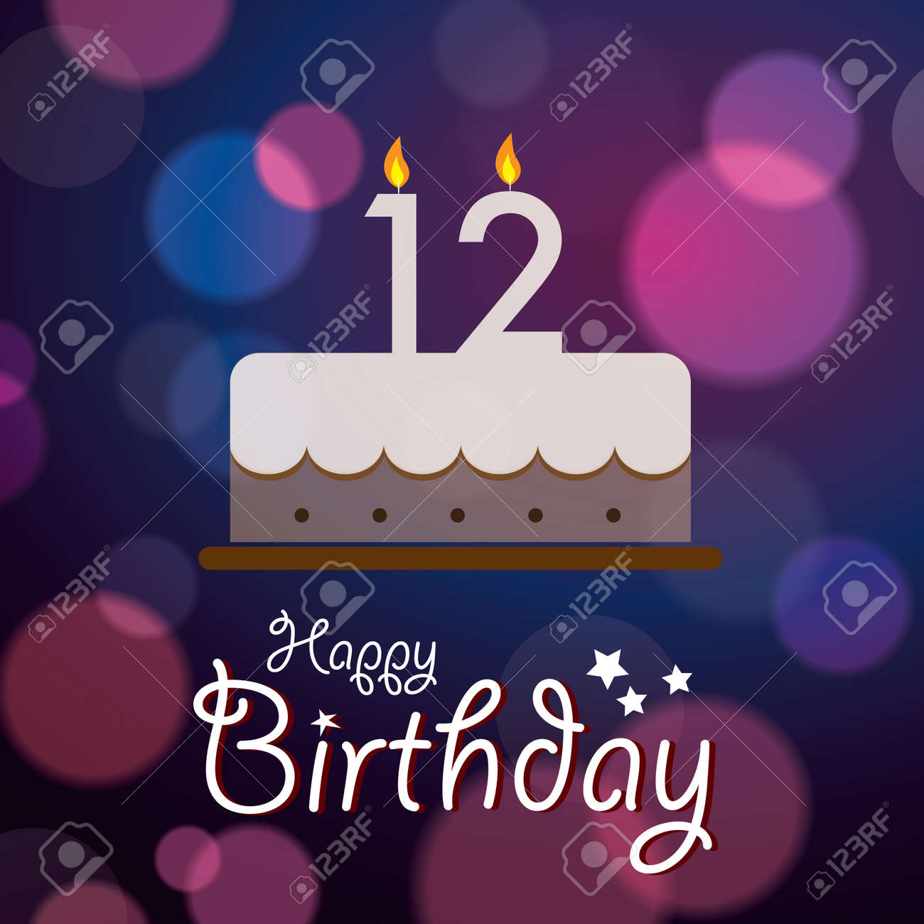 12th birthday Happy 12th Birthday   Bokeh Vector Background With Cake Royalty  12th birthday
