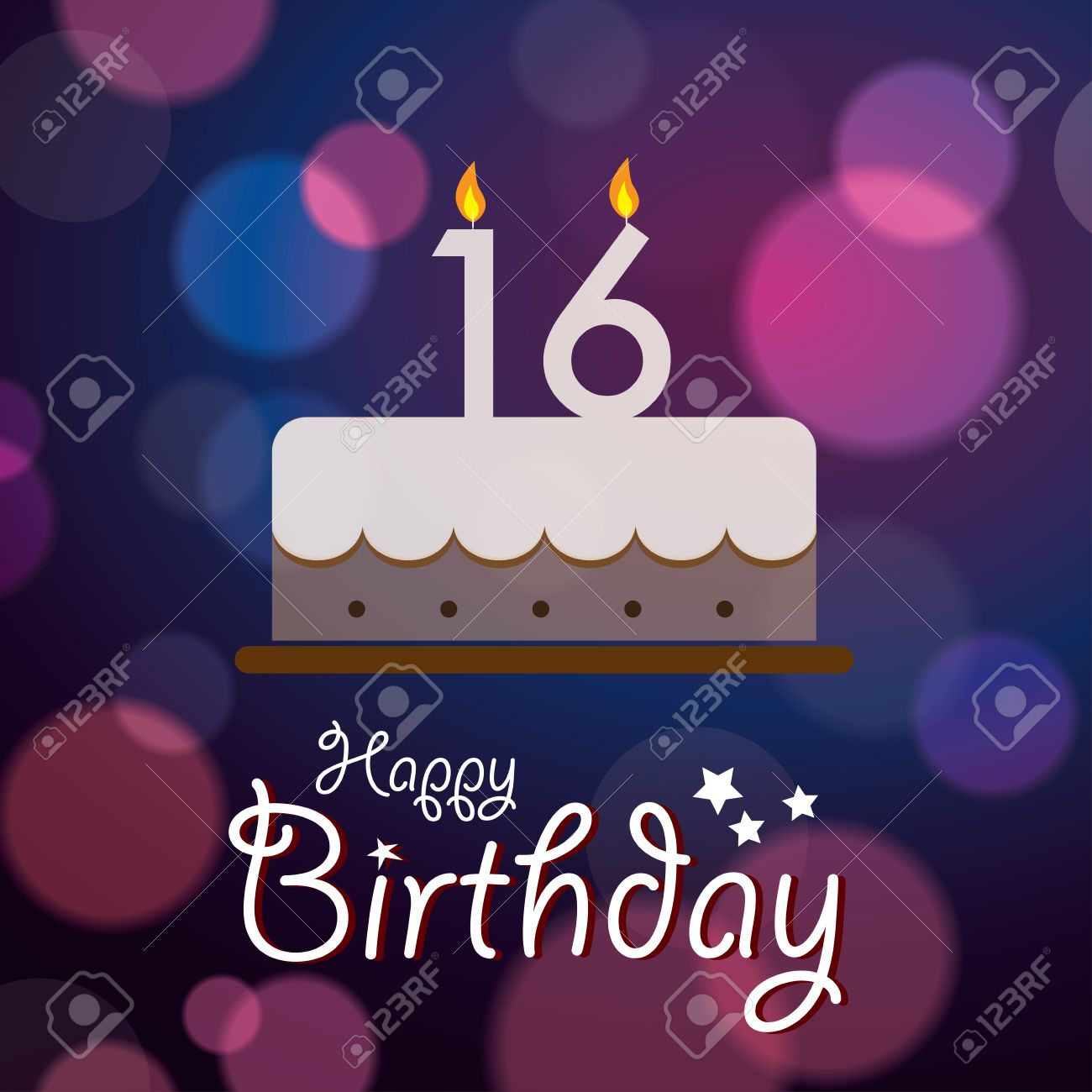 Fabulous Happy 16Th Birthday Bokeh Vector Background With Cake Royalty Personalised Birthday Cards Veneteletsinfo