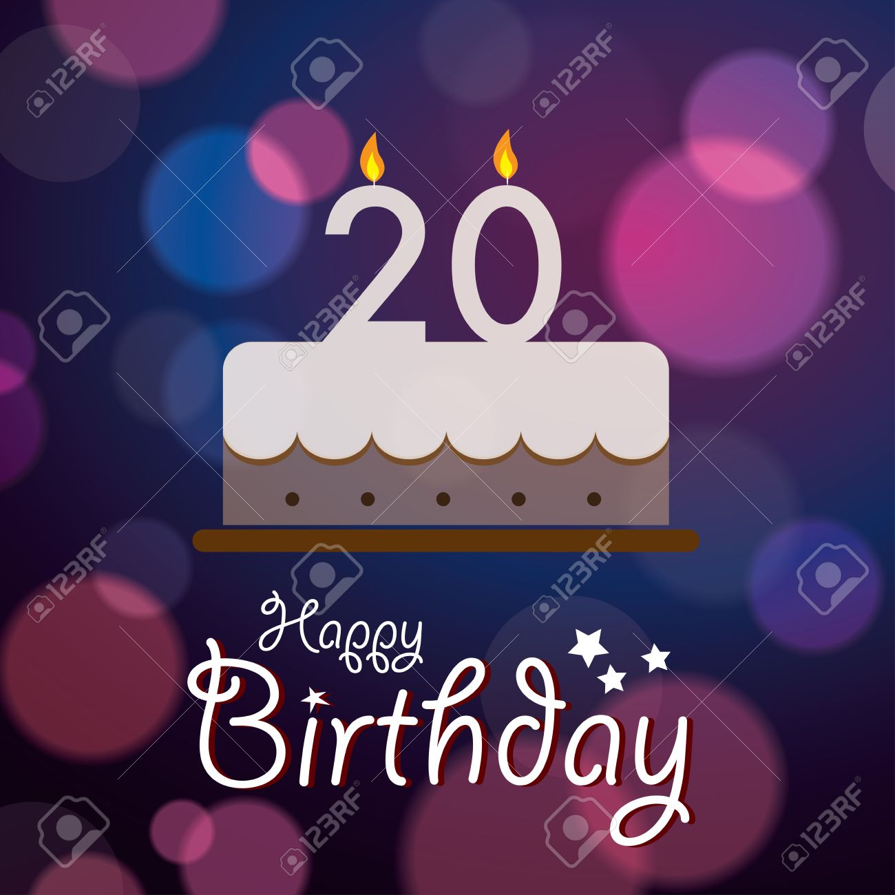 Happy 20th Birthday Bokeh Vector Background With Cake