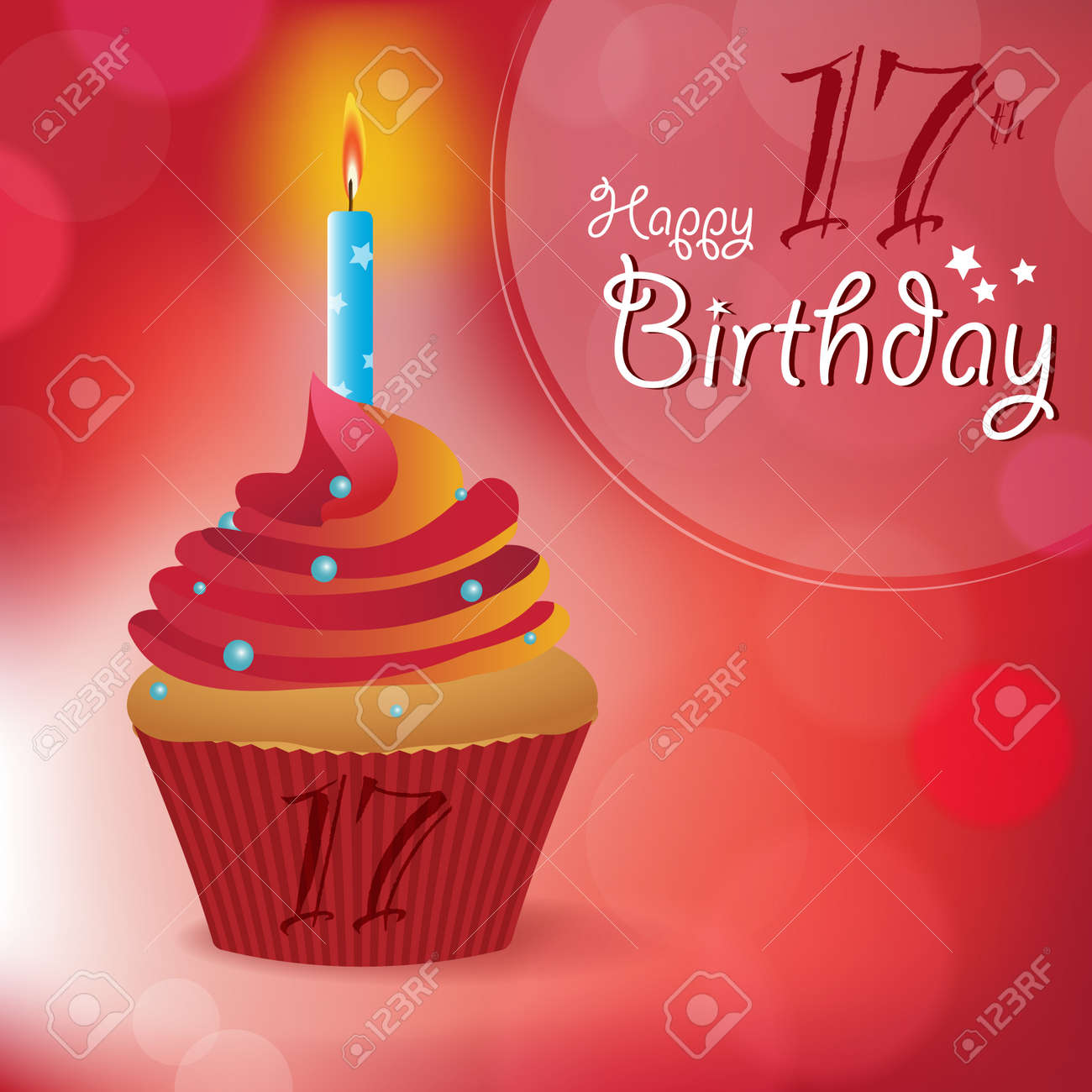 happy 17th birthday greeting invitation message bokeh vector background with a candle on a cupcake