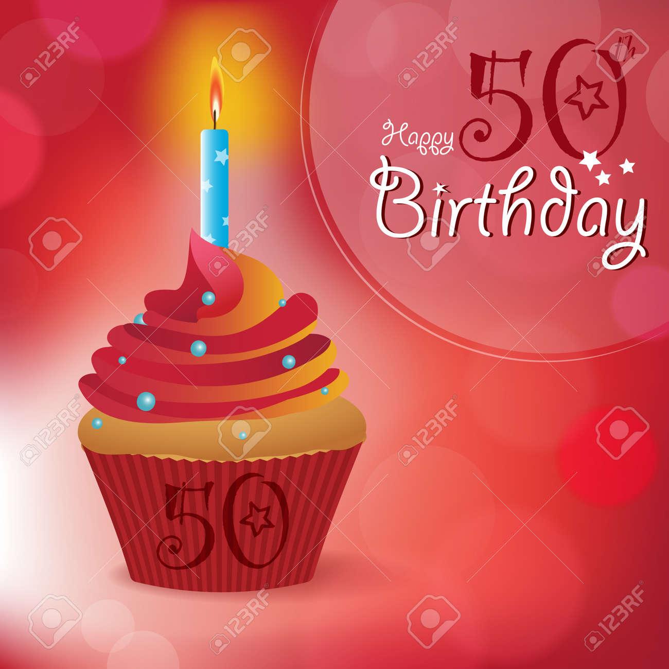 Glucklicher 50 Geburtstag Grusseinladungsmitteilung Bokeh Vektor
