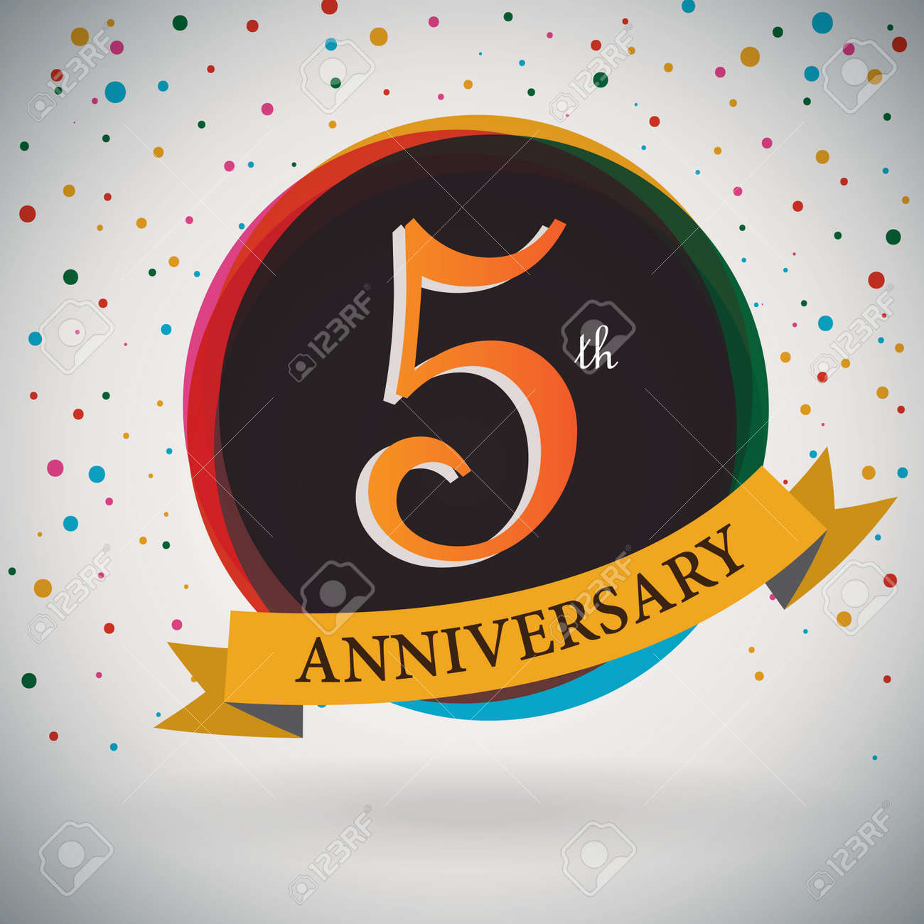 Wedding anniversary 5 years stock photos royalty free business images 5th anniversary poster template design in retro style vector background illustration biocorpaavc