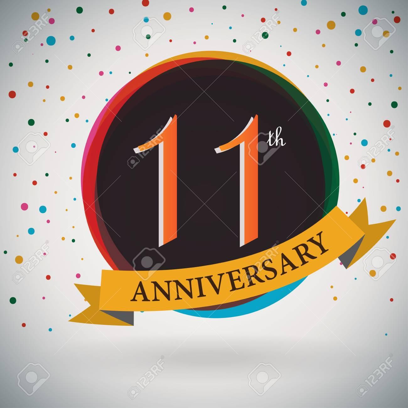 11 Aniversario De Diseño De La Plantilla Del Cartel De Estilo Retro ...