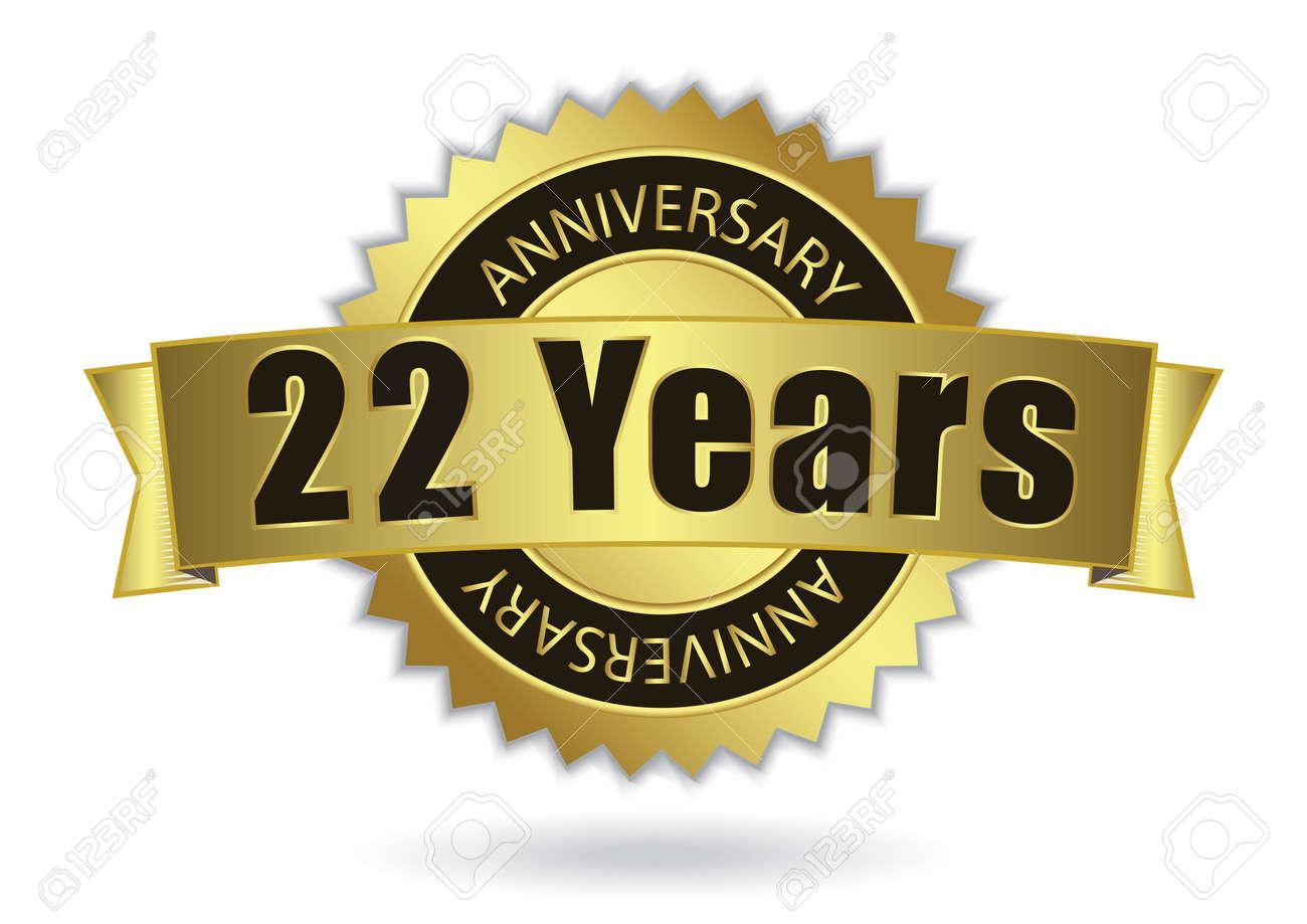 22 years anniversary retro golden ribbon eps 10 vector