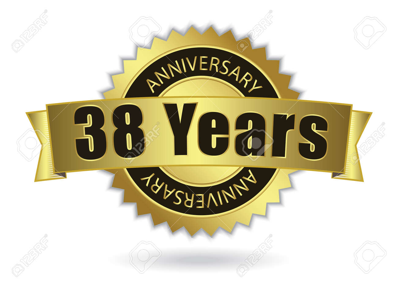 38 Years Anniversary Retro Golden Ribbon Eps 10 Vector